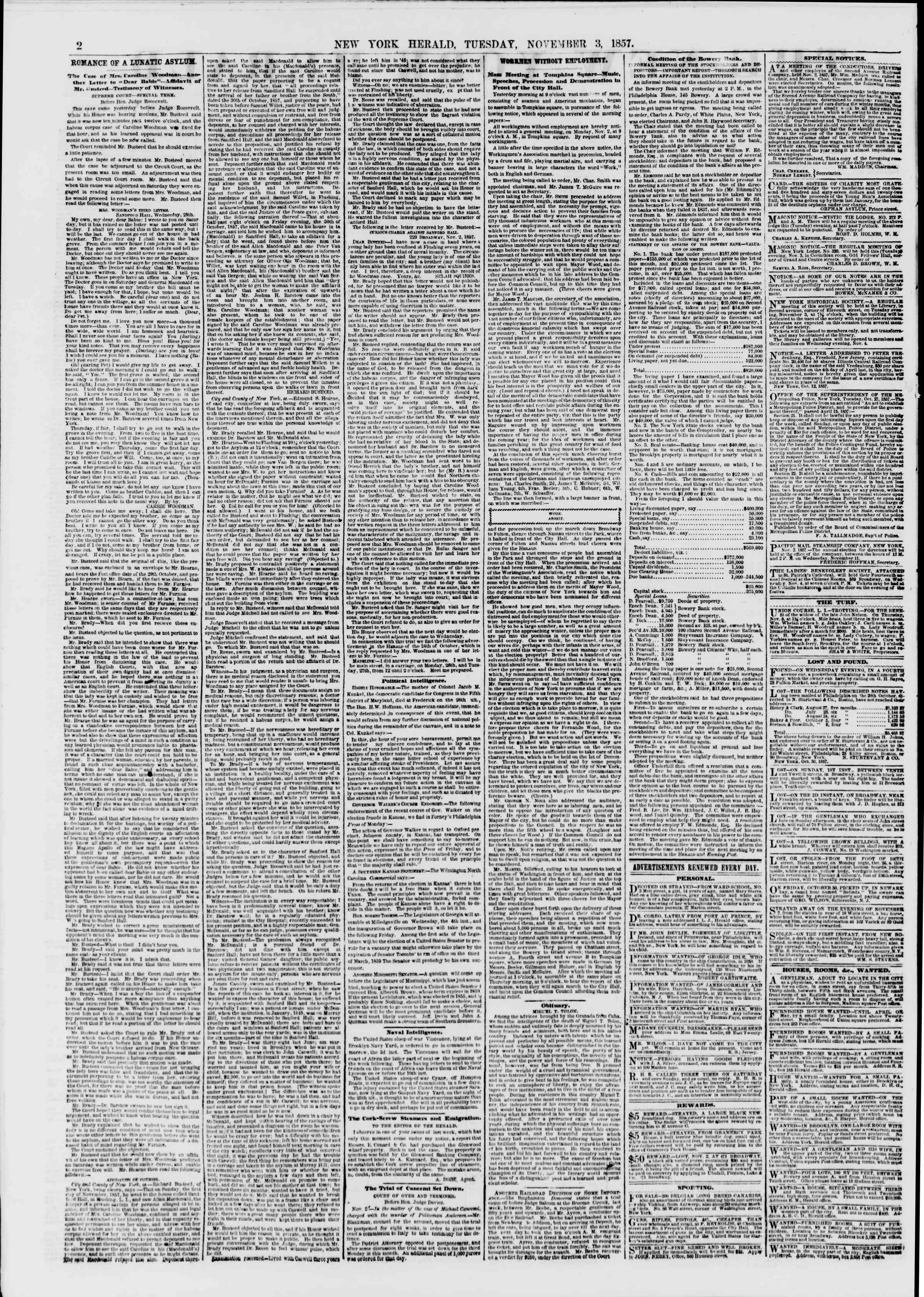 Newspaper of The New York Herald dated November 3, 1857 Page 2