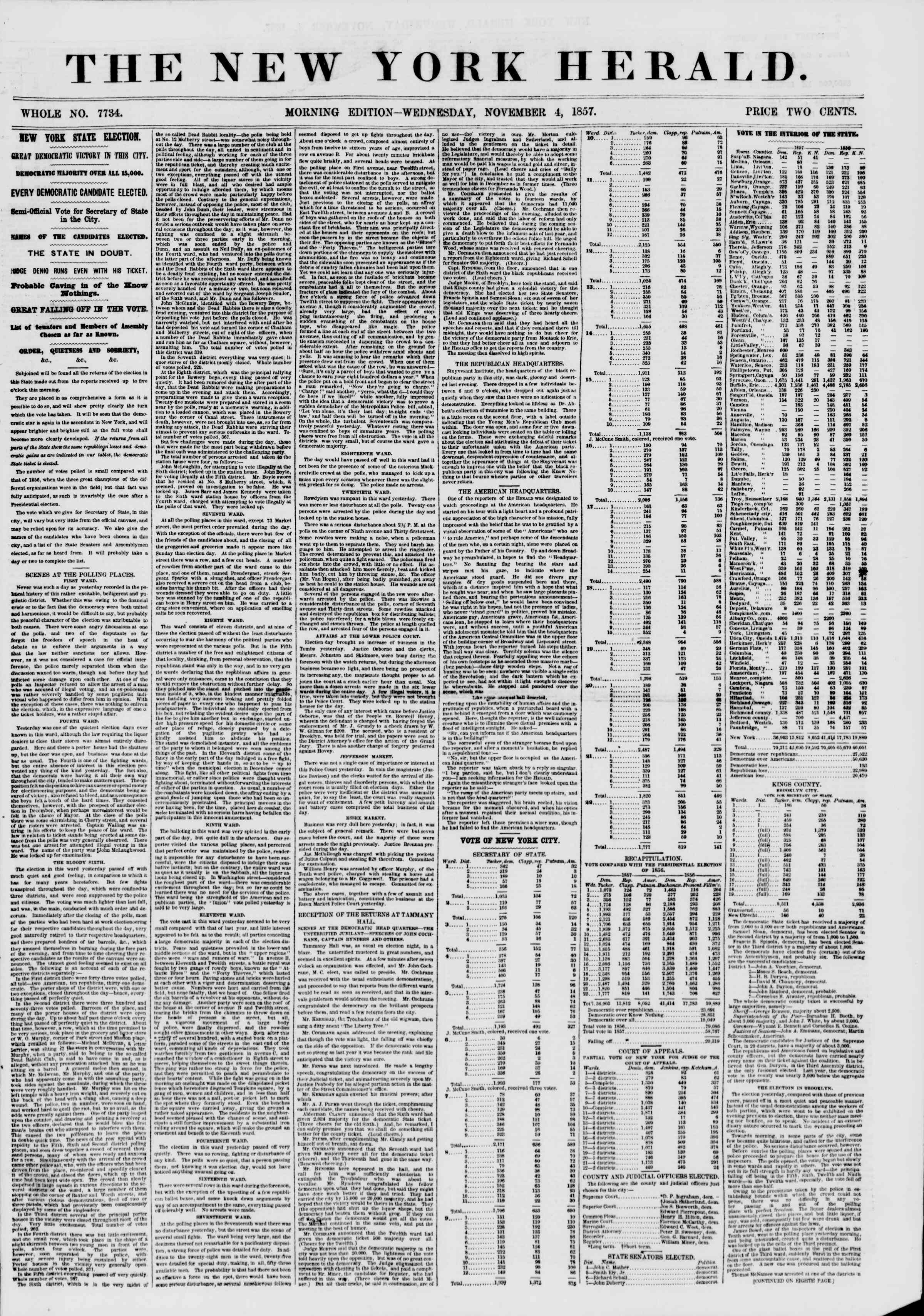 Newspaper of The New York Herald dated November 4, 1857 Page 1