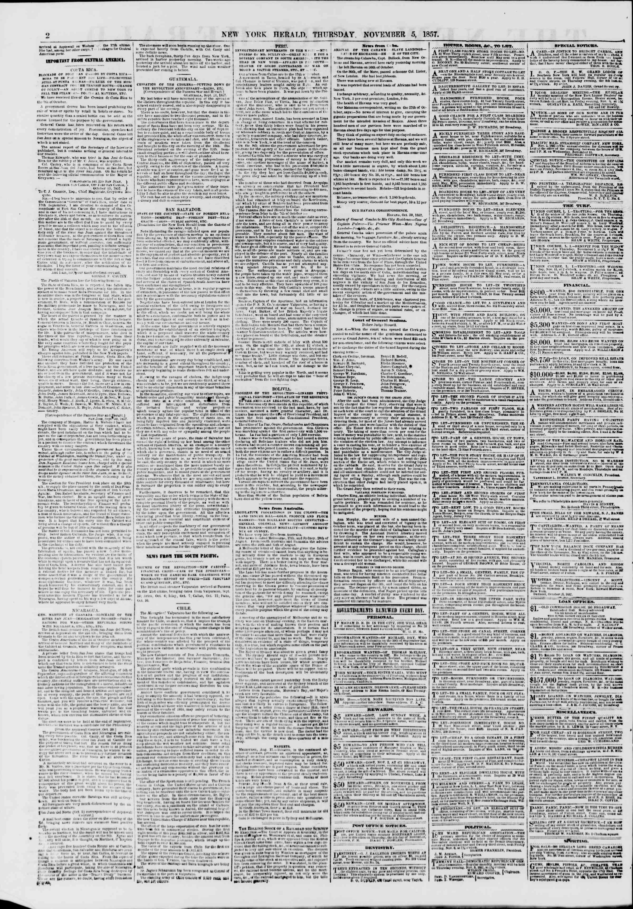 Newspaper of The New York Herald dated November 5, 1857 Page 2