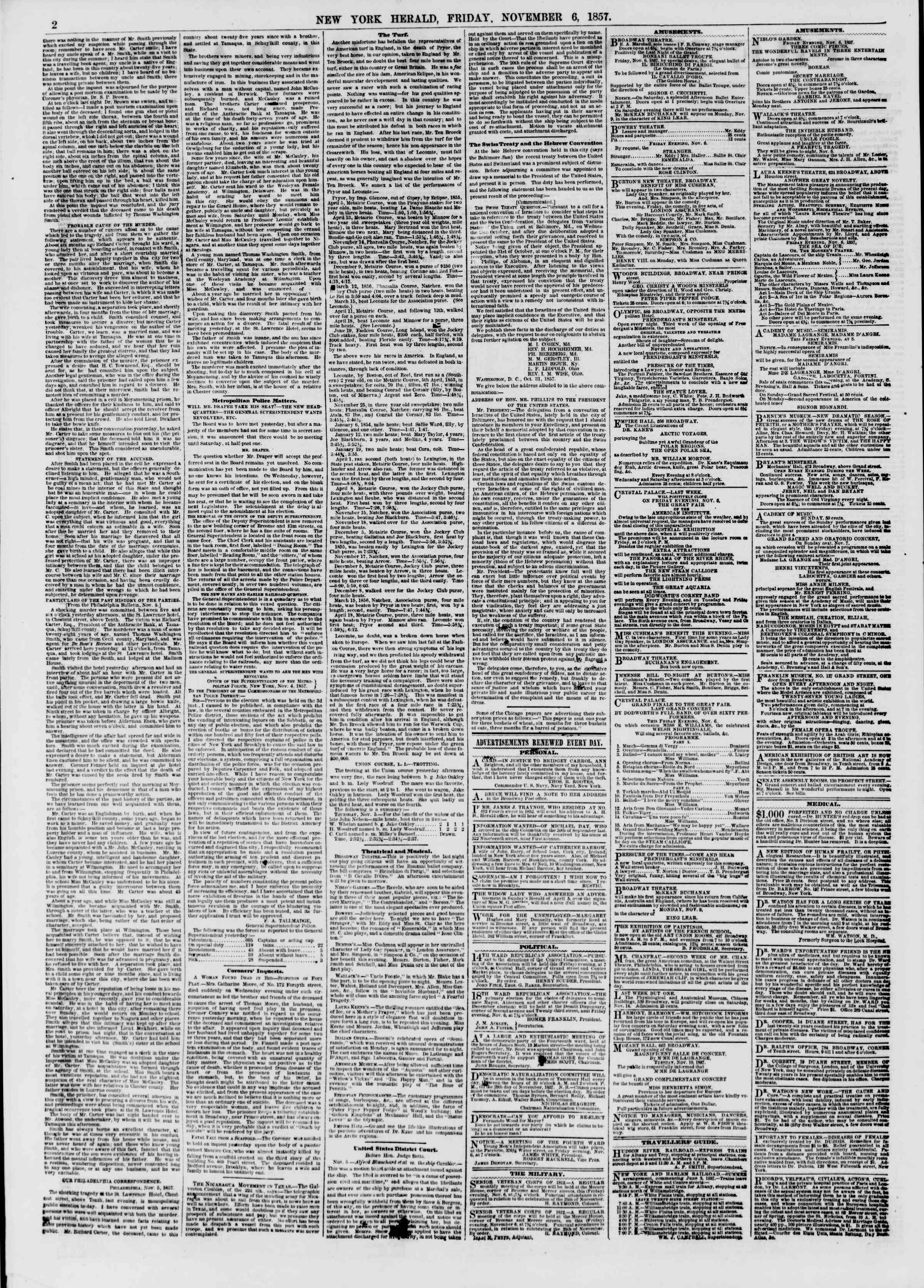 Newspaper of The New York Herald dated November 6, 1857 Page 2