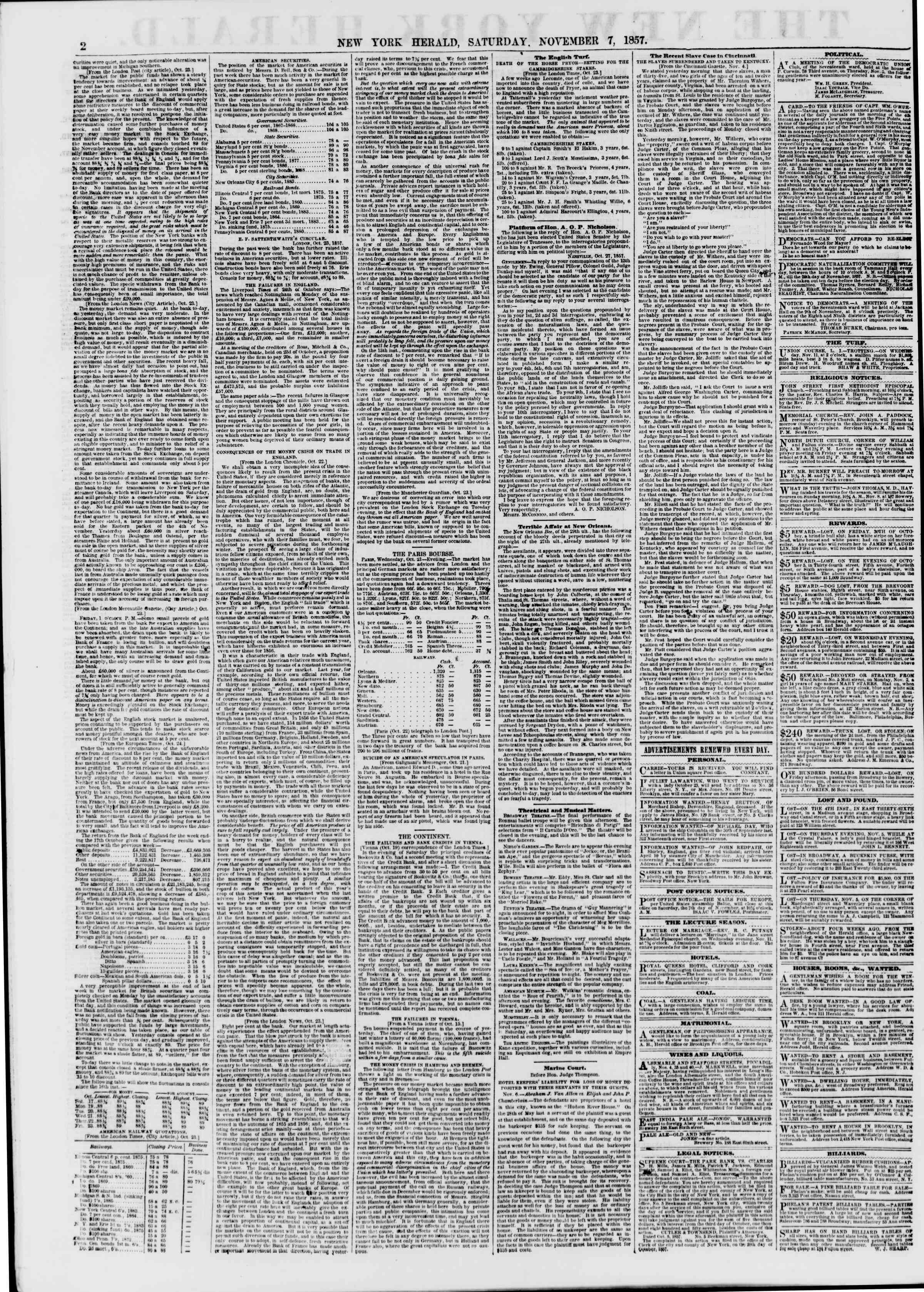 Newspaper of The New York Herald dated November 7, 1857 Page 2