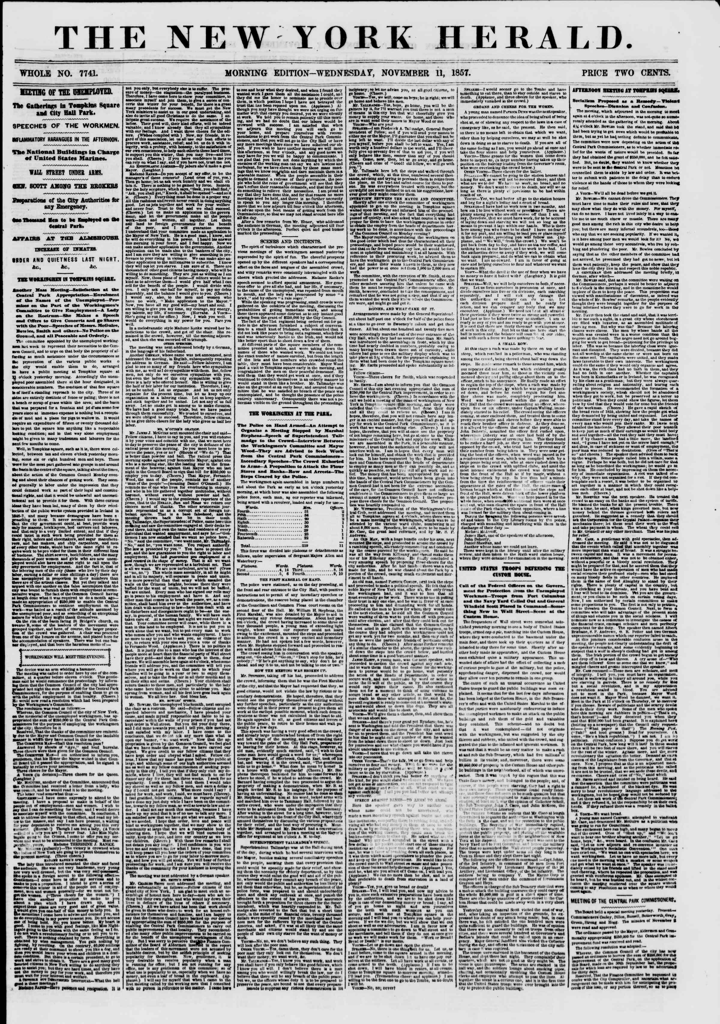 11 Kasım 1857 tarihli The New York Herald Gazetesi Sayfa 1