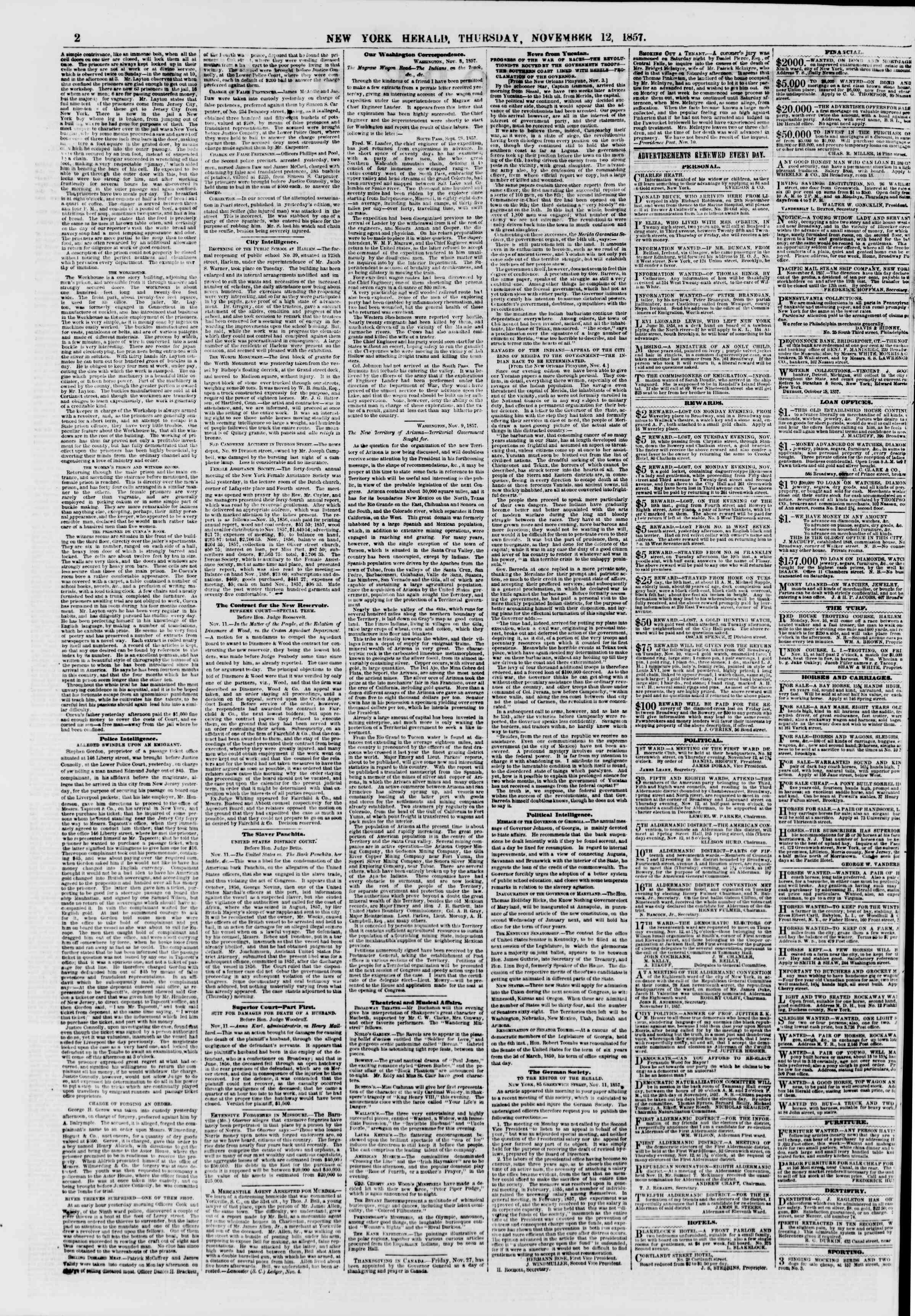Newspaper of The New York Herald dated November 12, 1857 Page 2
