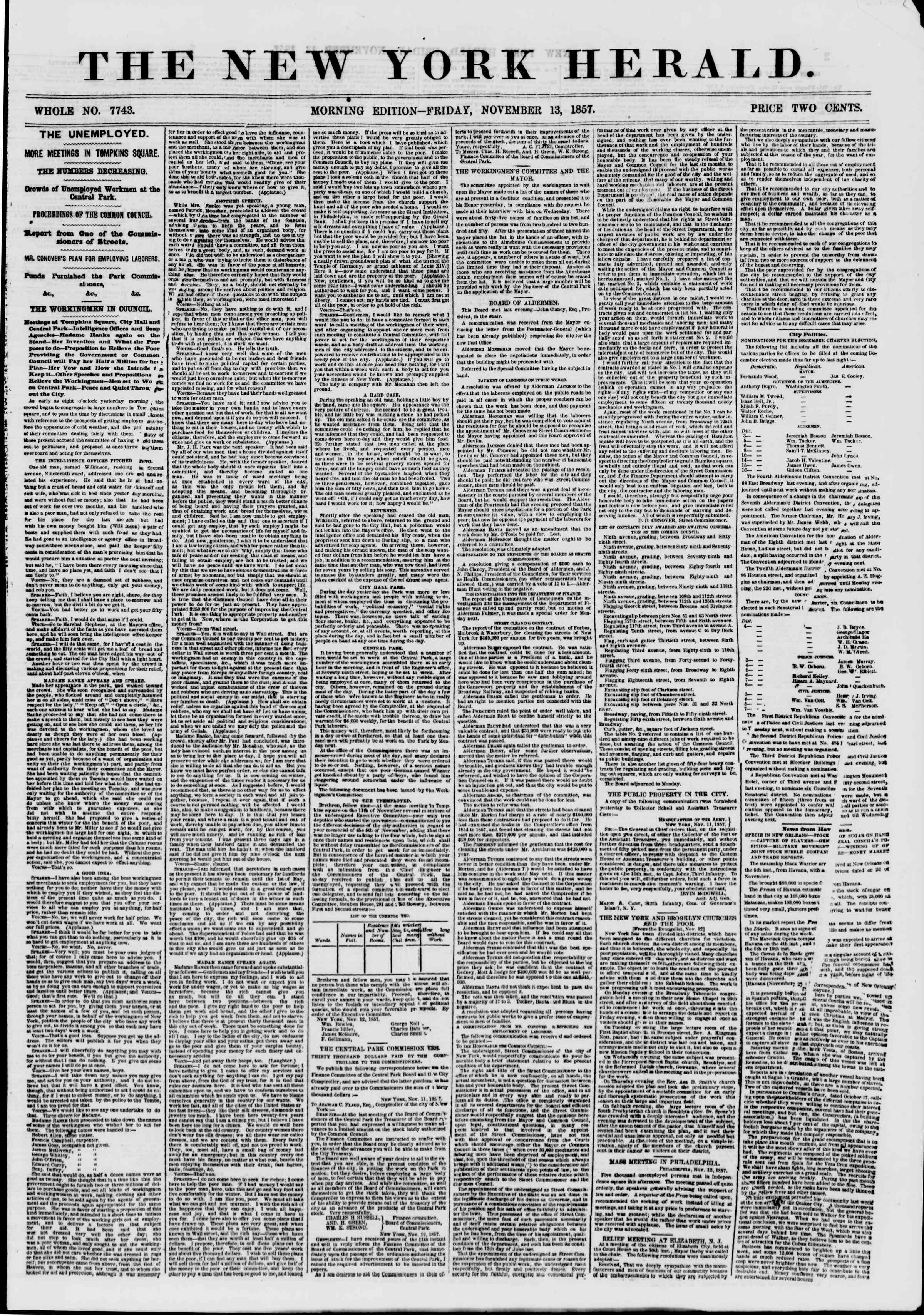 Newspaper of The New York Herald dated November 13, 1857 Page 1