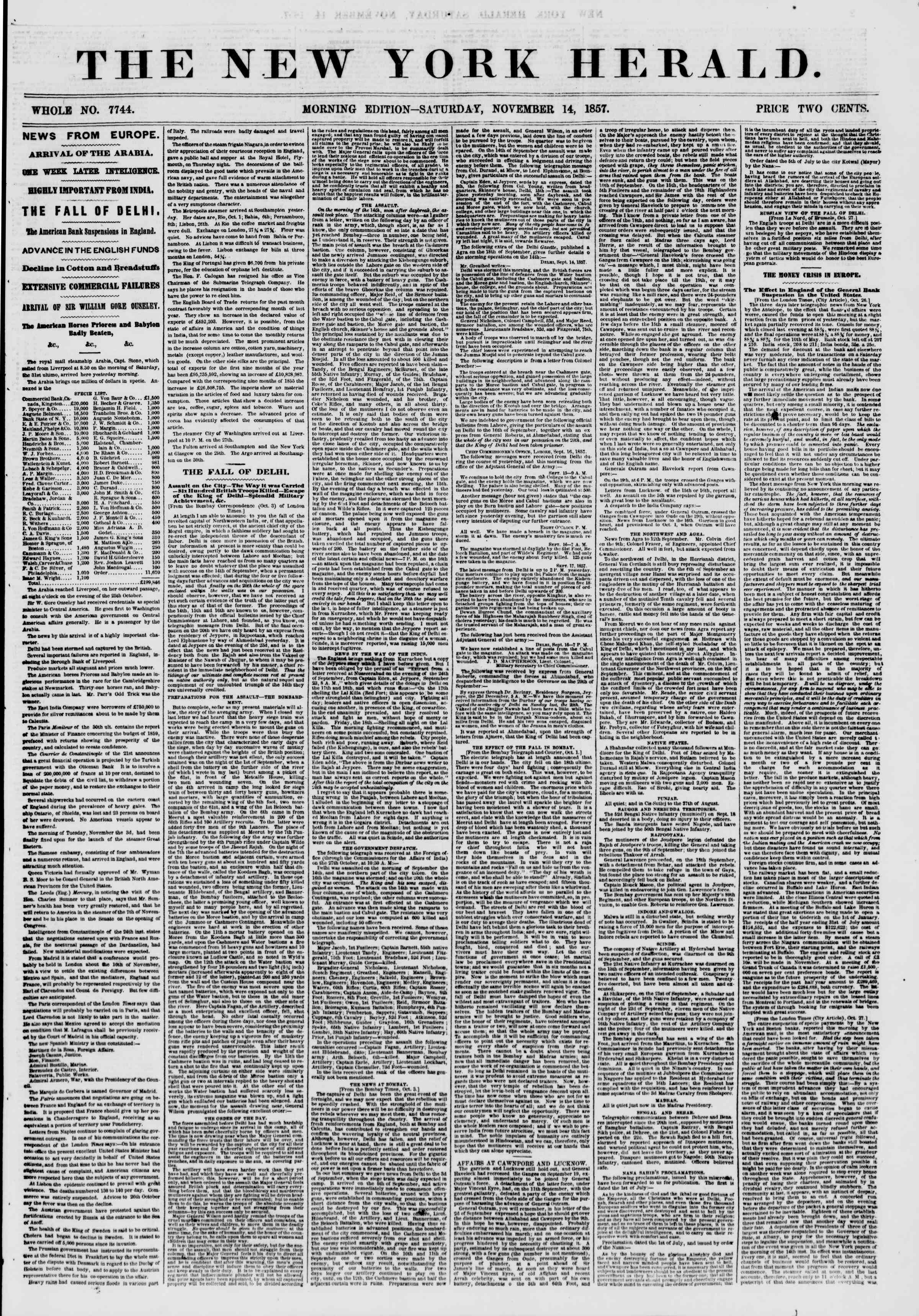 Newspaper of The New York Herald dated November 14, 1857 Page 1