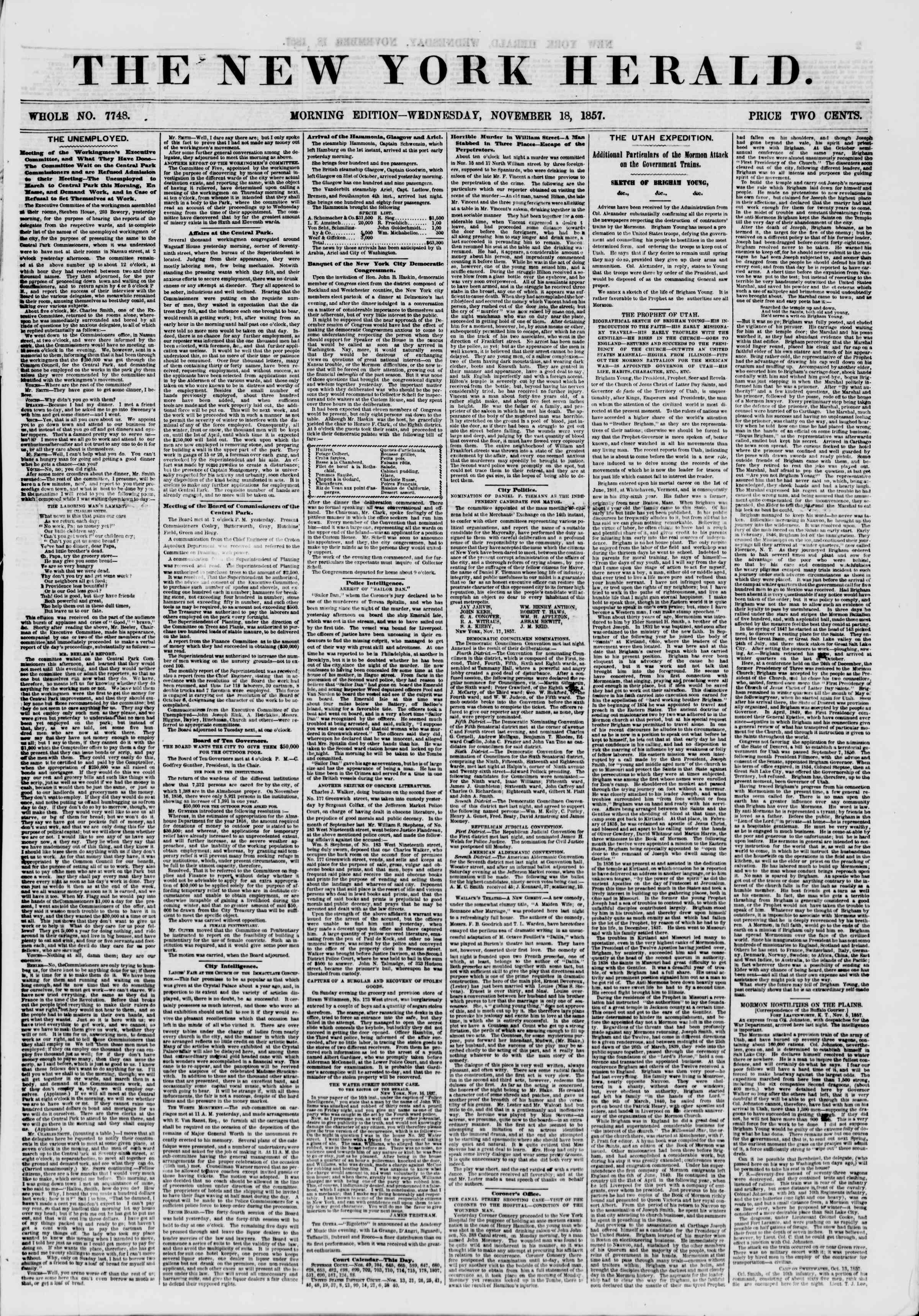 18 Kasım 1857 tarihli The New York Herald Gazetesi Sayfa 1