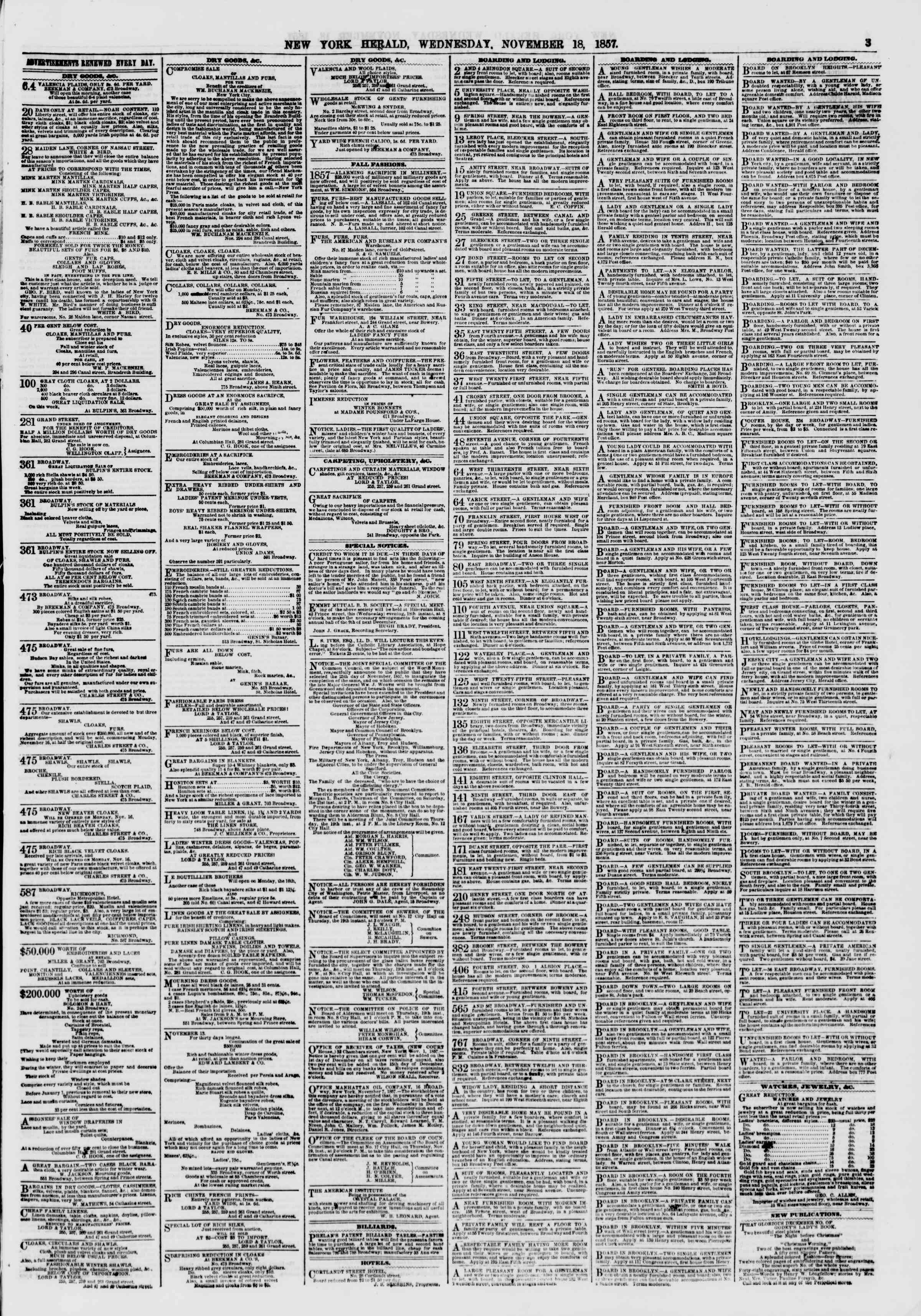 Newspaper of The New York Herald dated November 18, 1857 Page 3