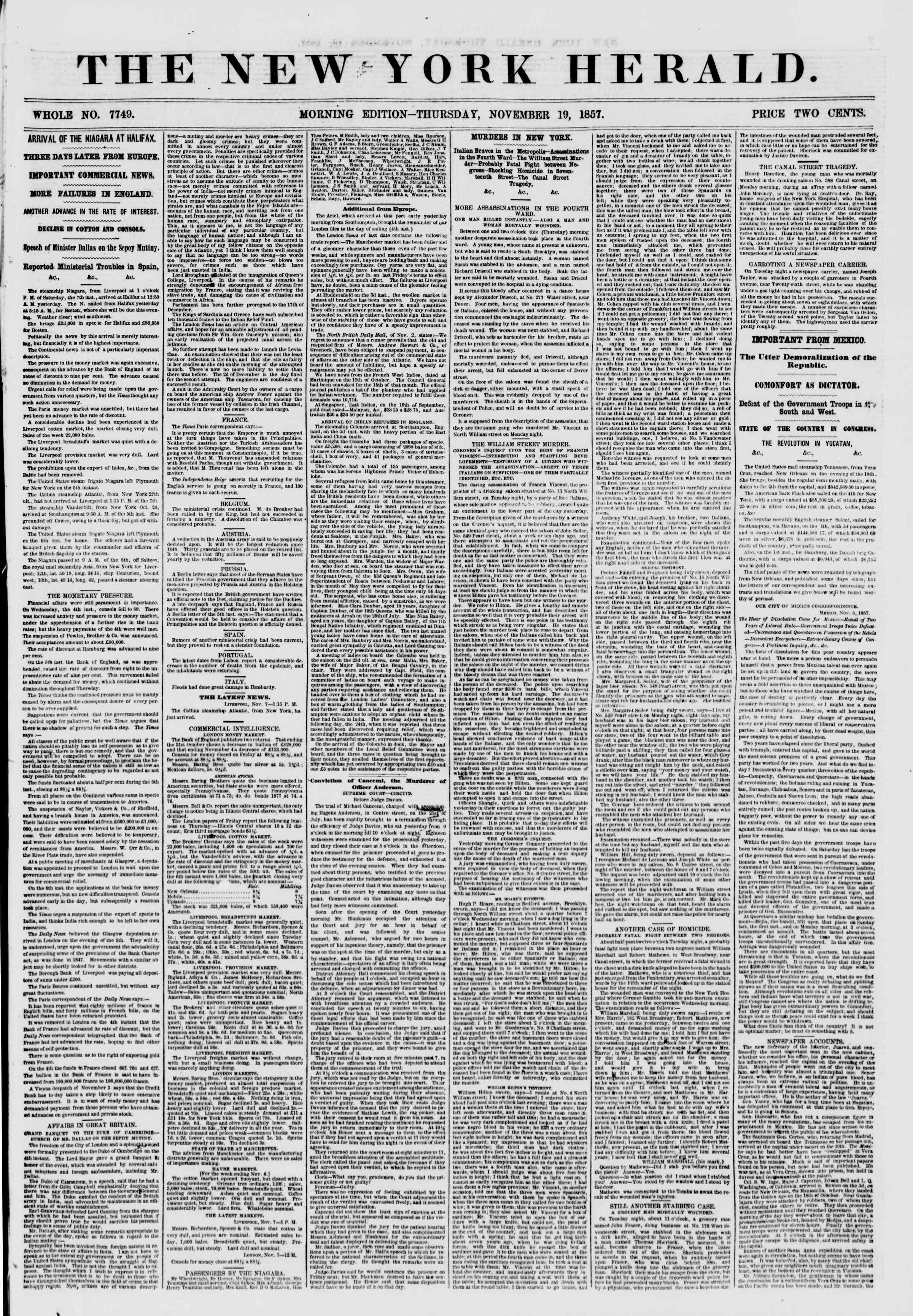 Newspaper of The New York Herald dated November 19, 1857 Page 1