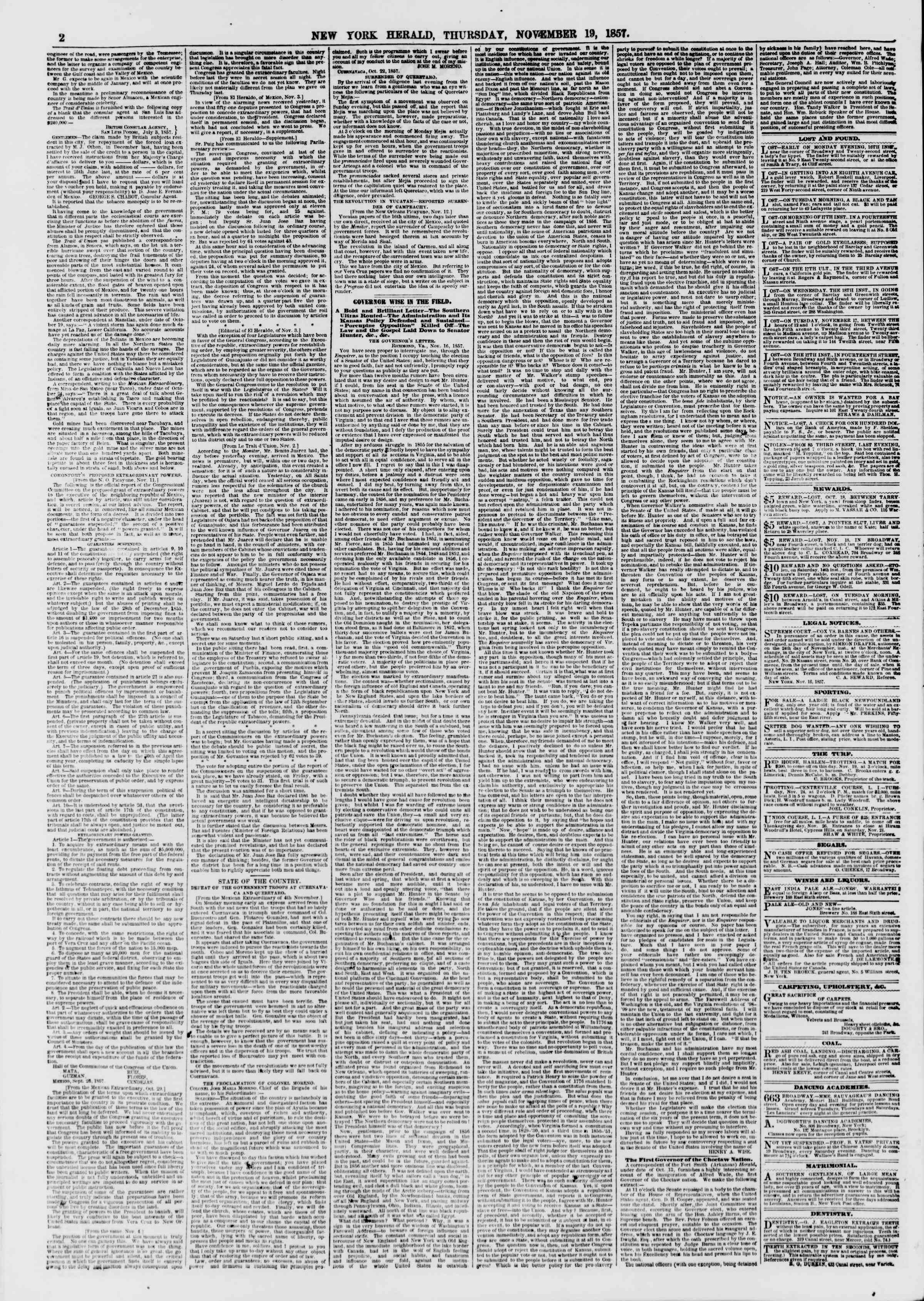 Newspaper of The New York Herald dated November 19, 1857 Page 2