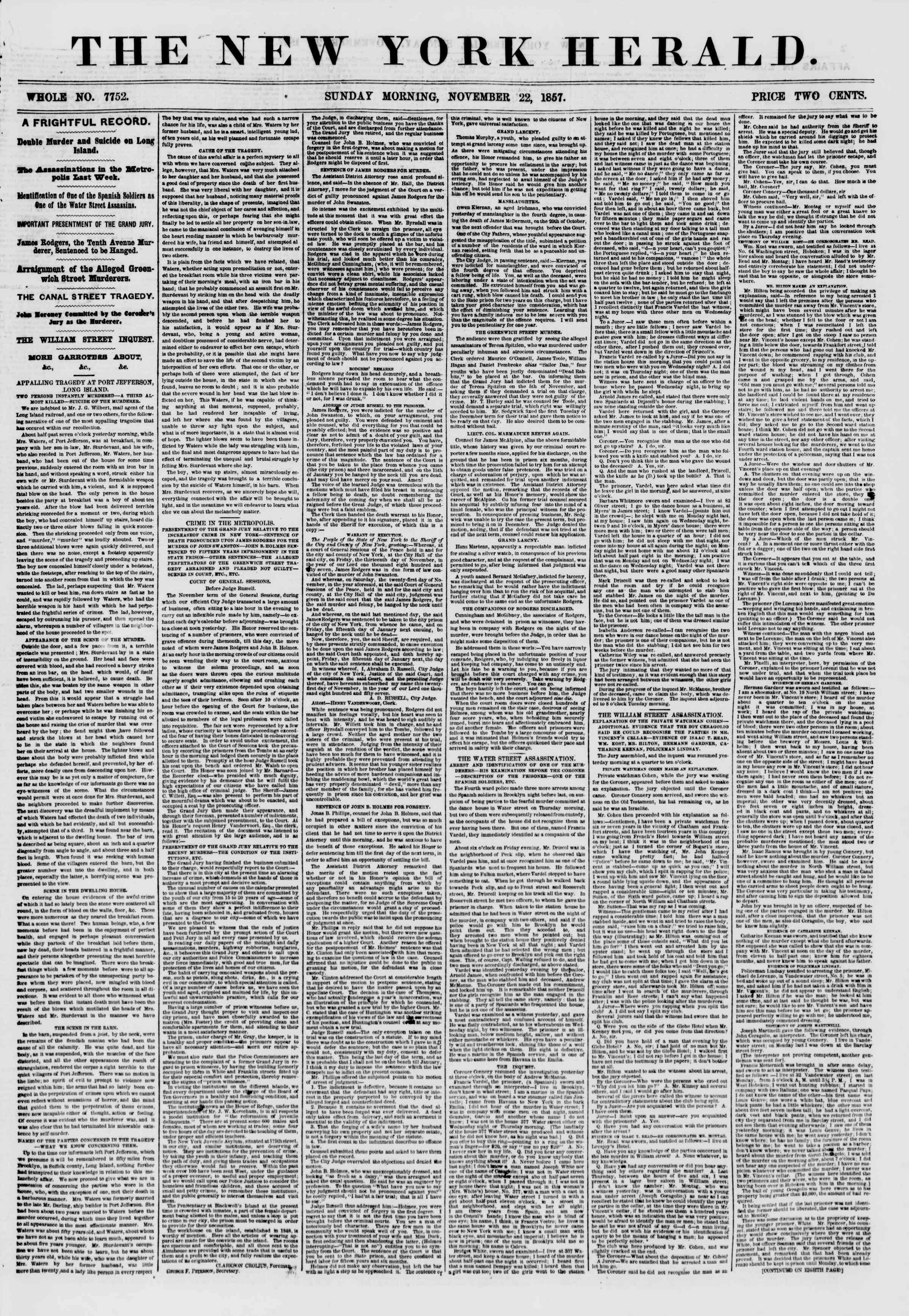 Newspaper of The New York Herald dated 22 Kasım 1857 Page 1