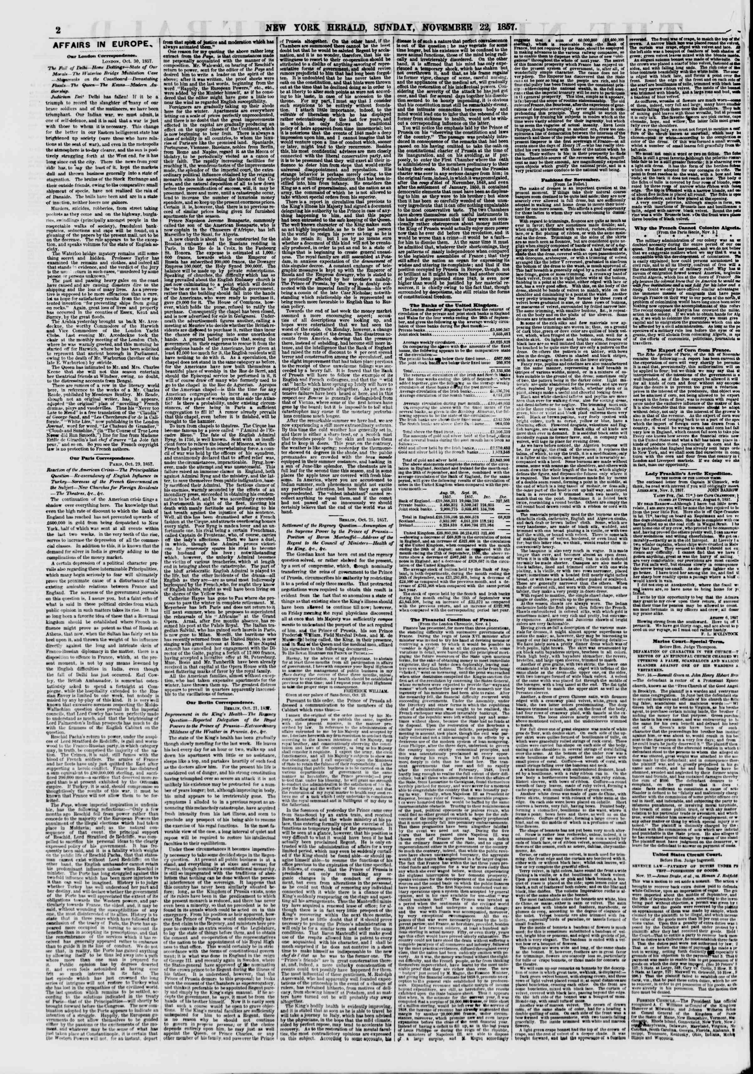 22 Kasım 1857 tarihli The New York Herald Gazetesi Sayfa 2
