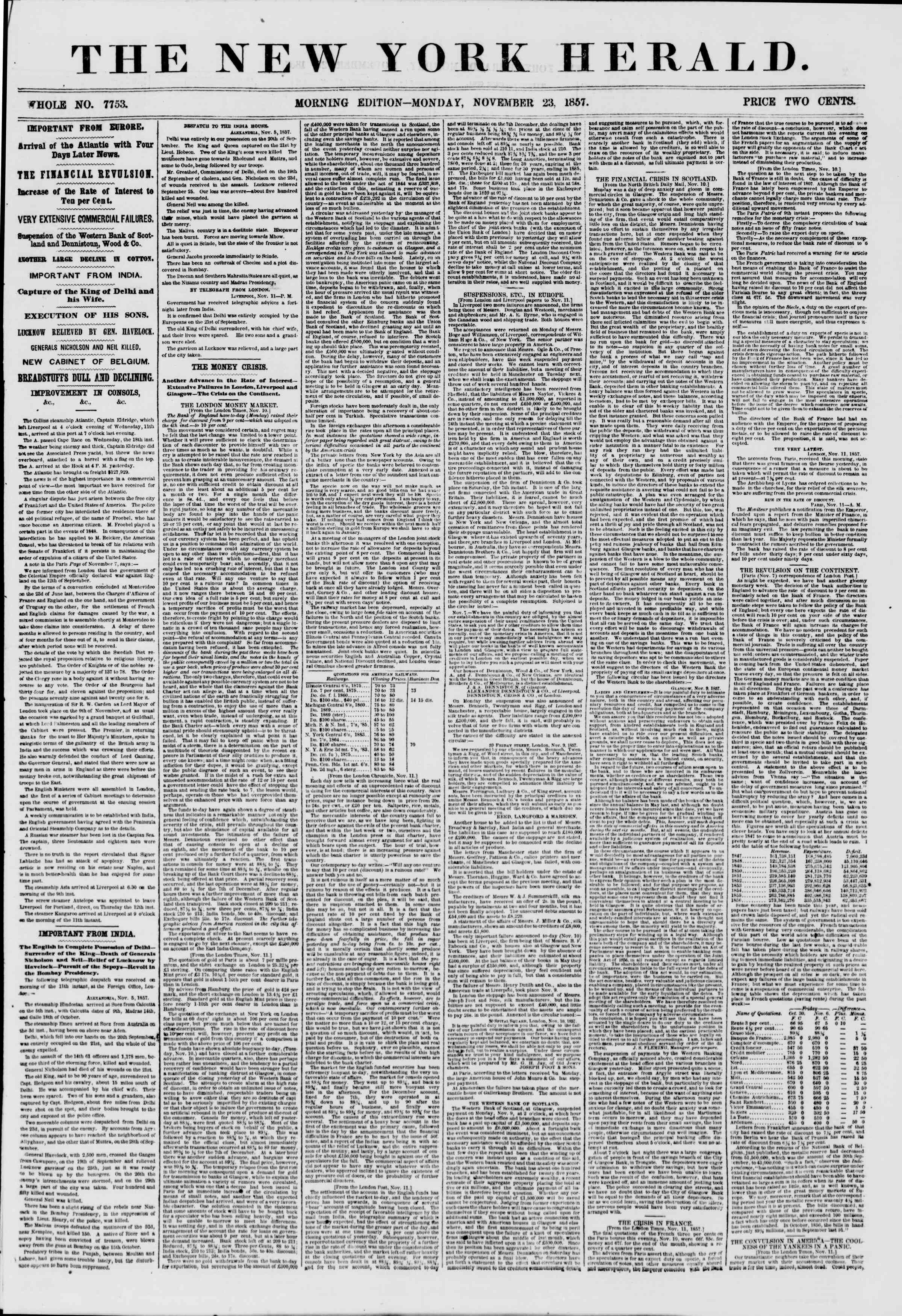 Newspaper of The New York Herald dated November 23, 1857 Page 1