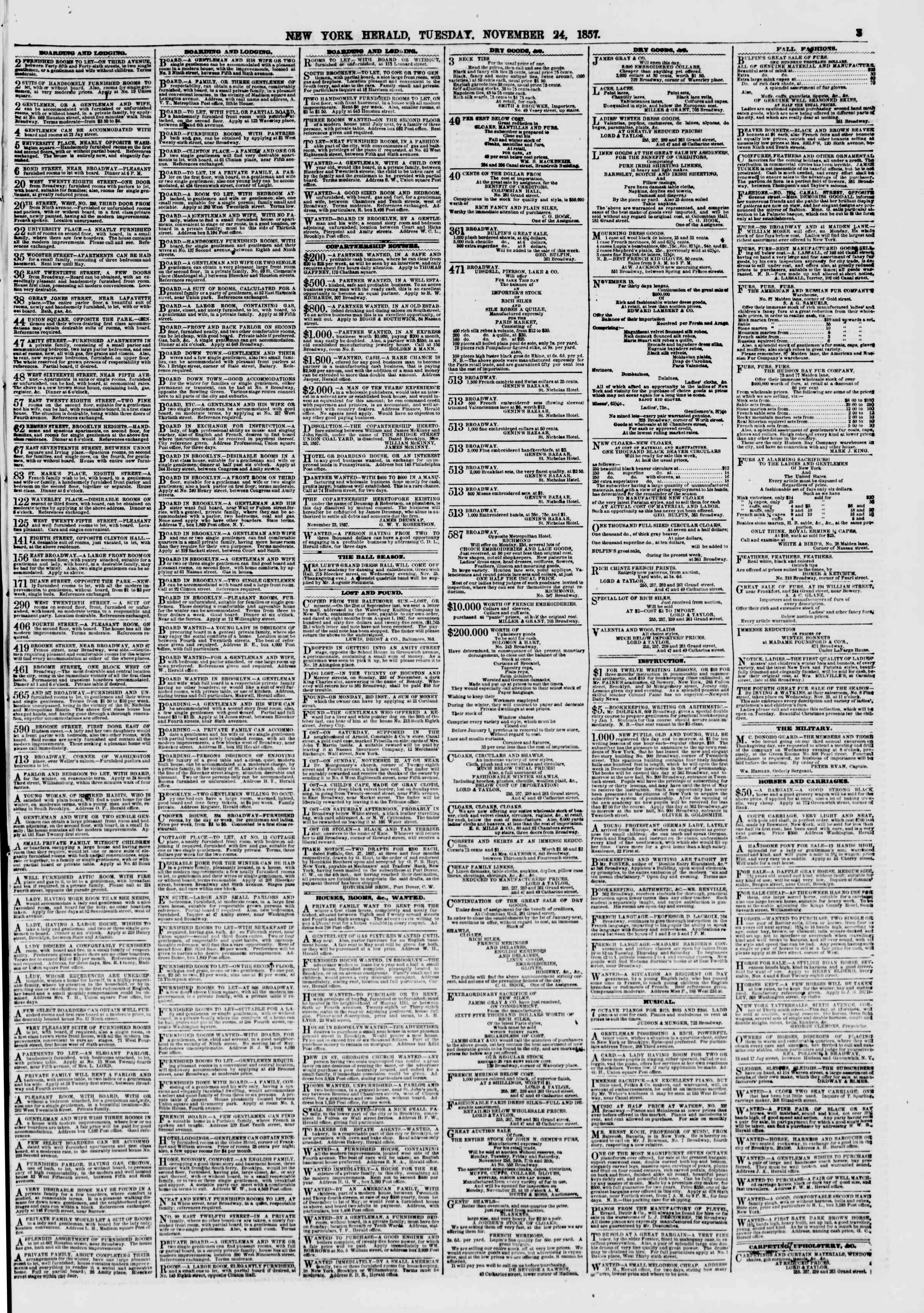 Newspaper of The New York Herald dated November 24, 1857 Page 3