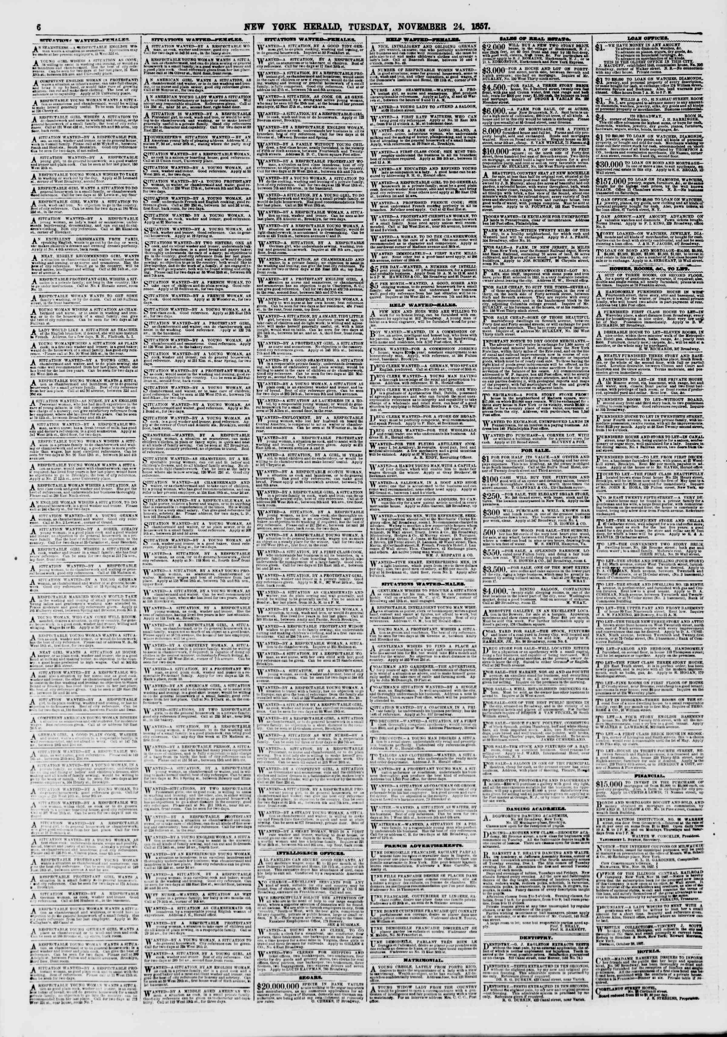 Newspaper of The New York Herald dated November 24, 1857 Page 6