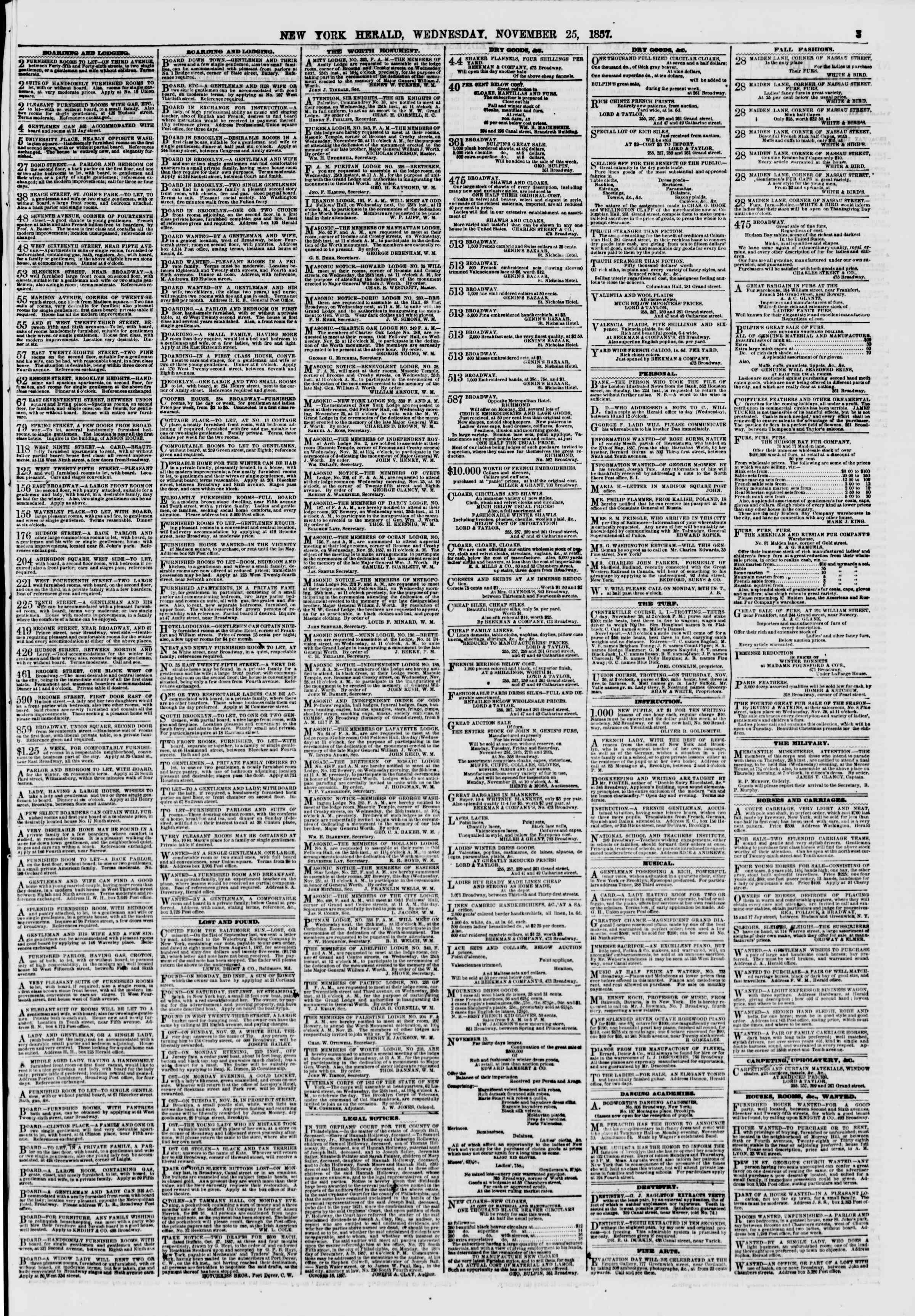 Newspaper of The New York Herald dated November 25, 1857 Page 3