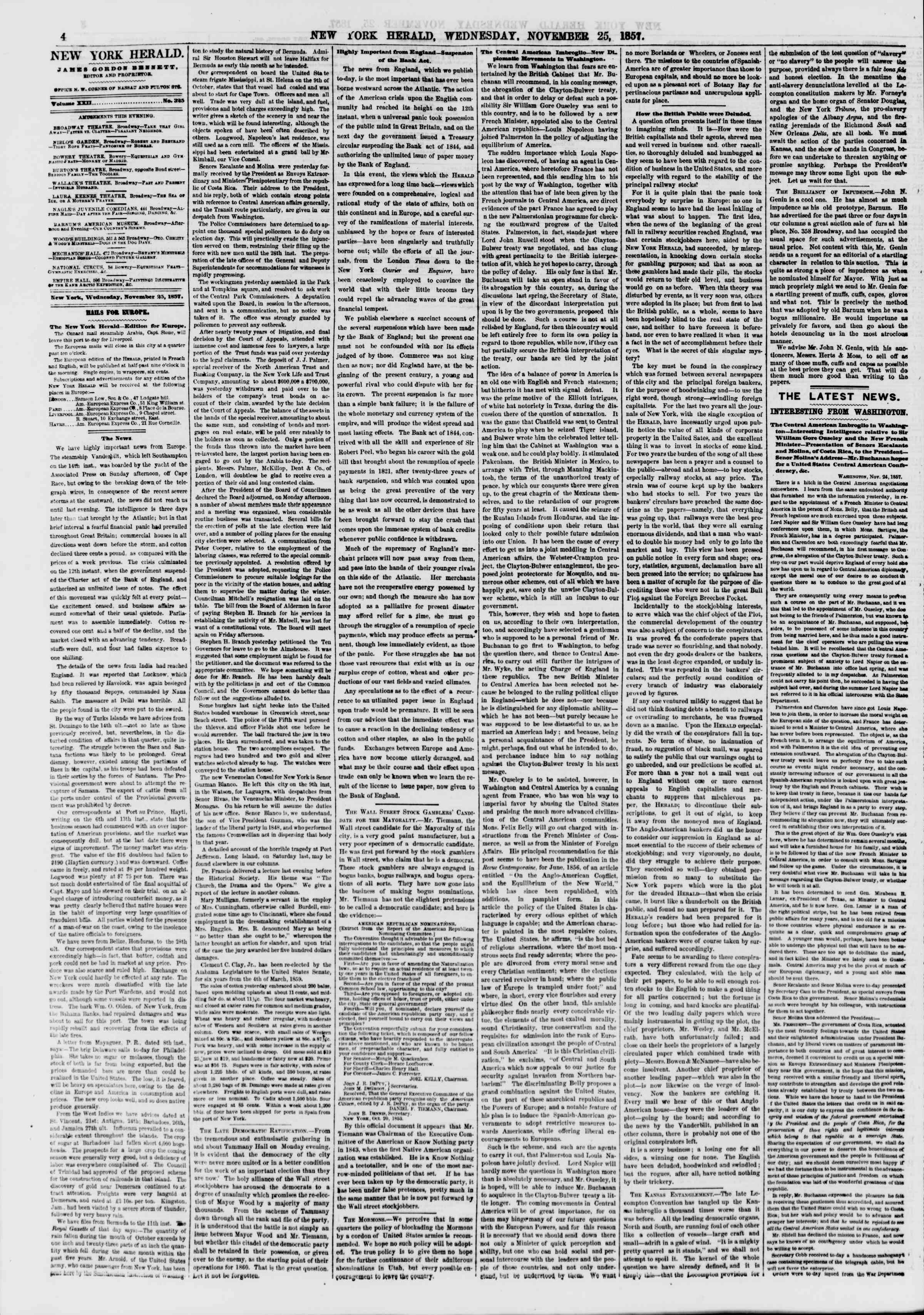 Newspaper of The New York Herald dated November 25, 1857 Page 4