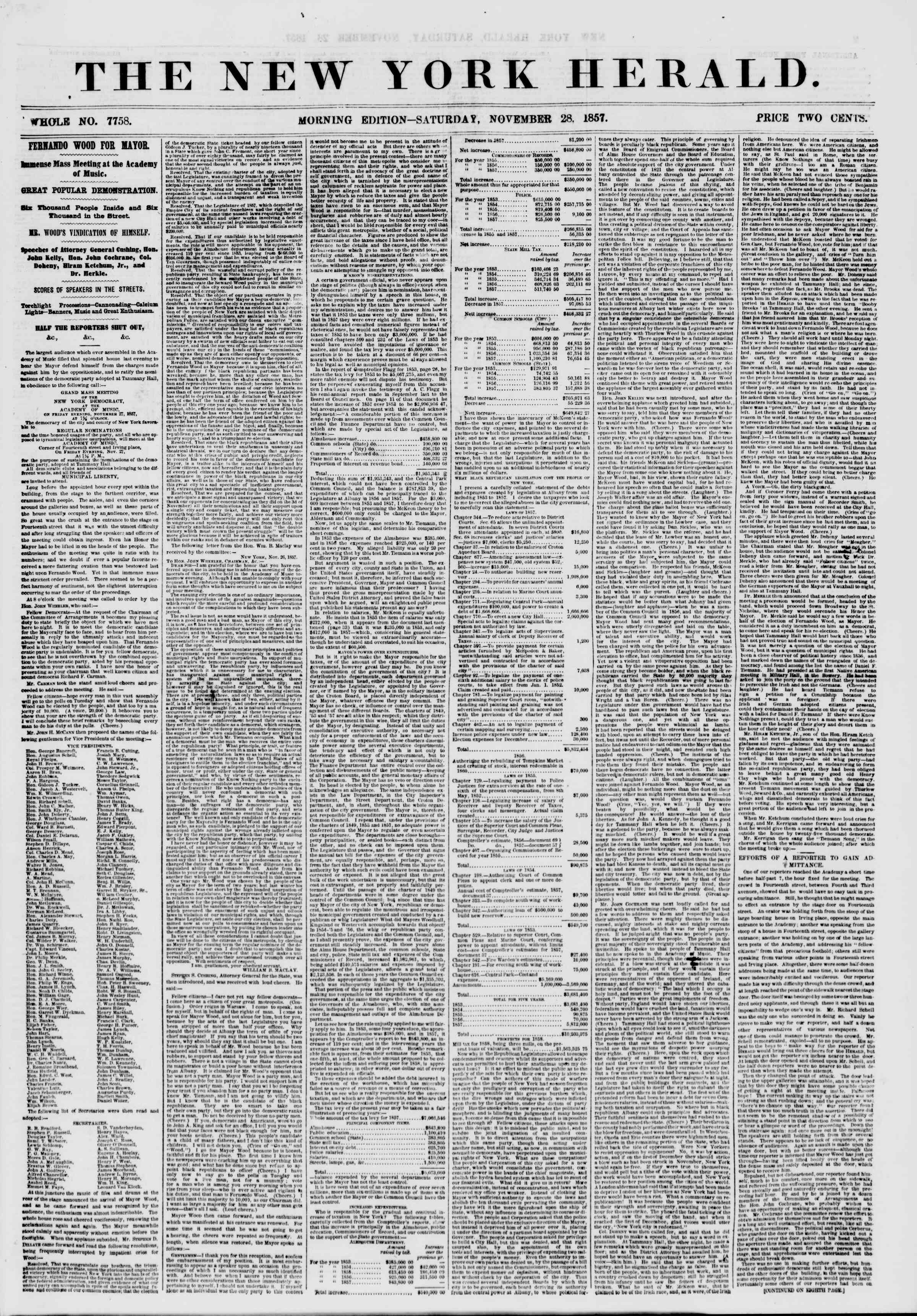 Newspaper of The New York Herald dated November 28, 1857 Page 1