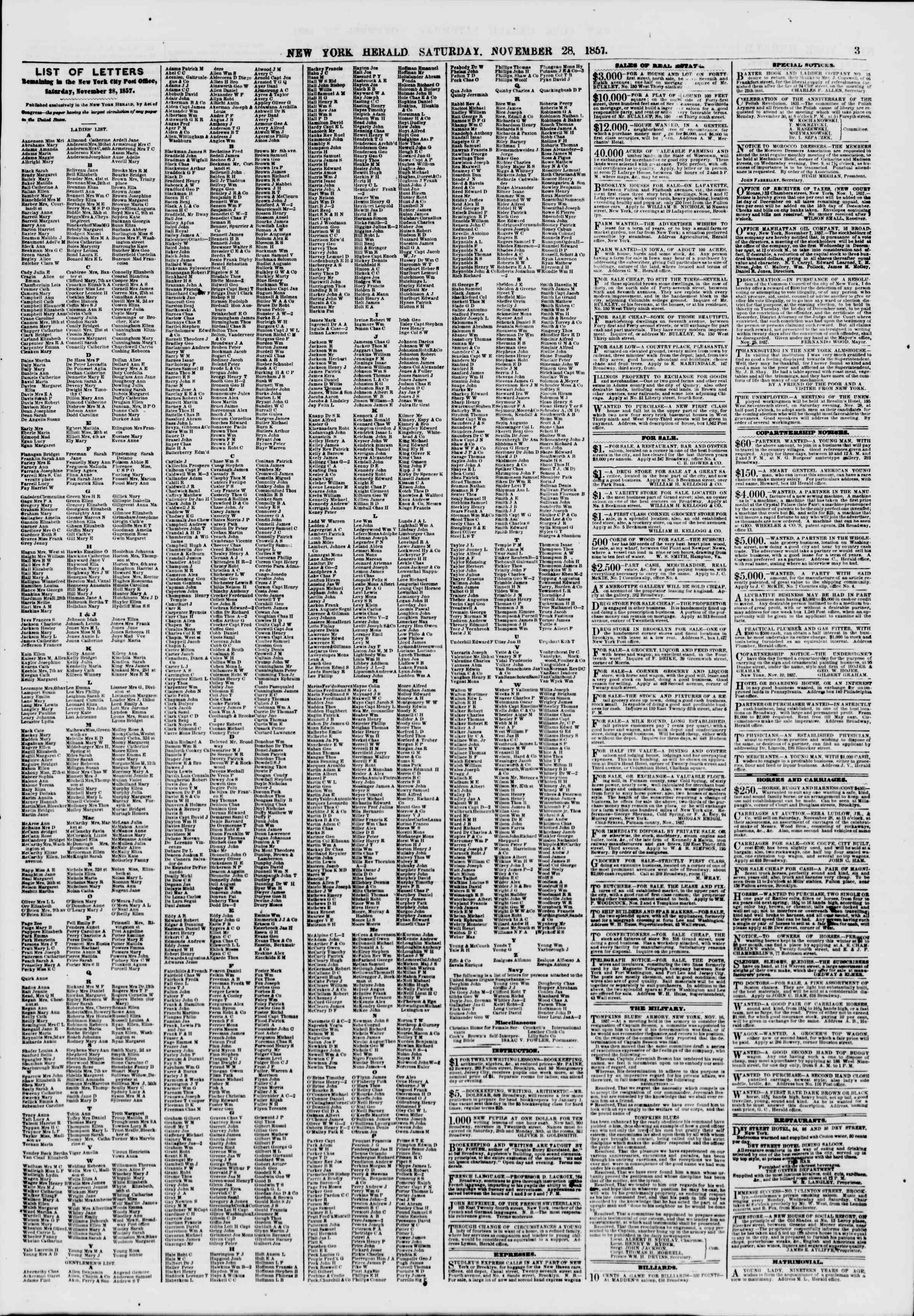 Newspaper of The New York Herald dated November 28, 1857 Page 3
