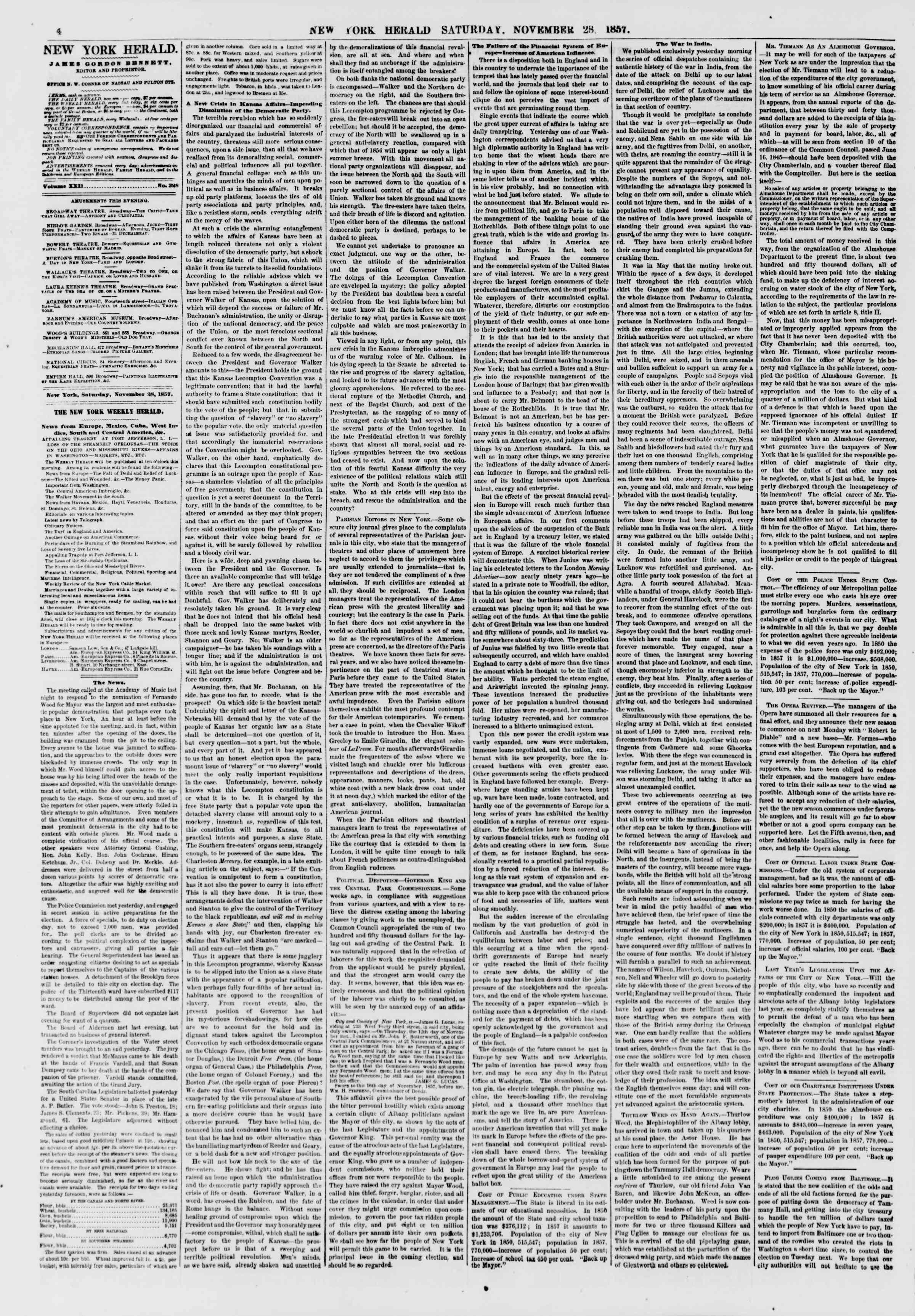 Newspaper of The New York Herald dated November 28, 1857 Page 4