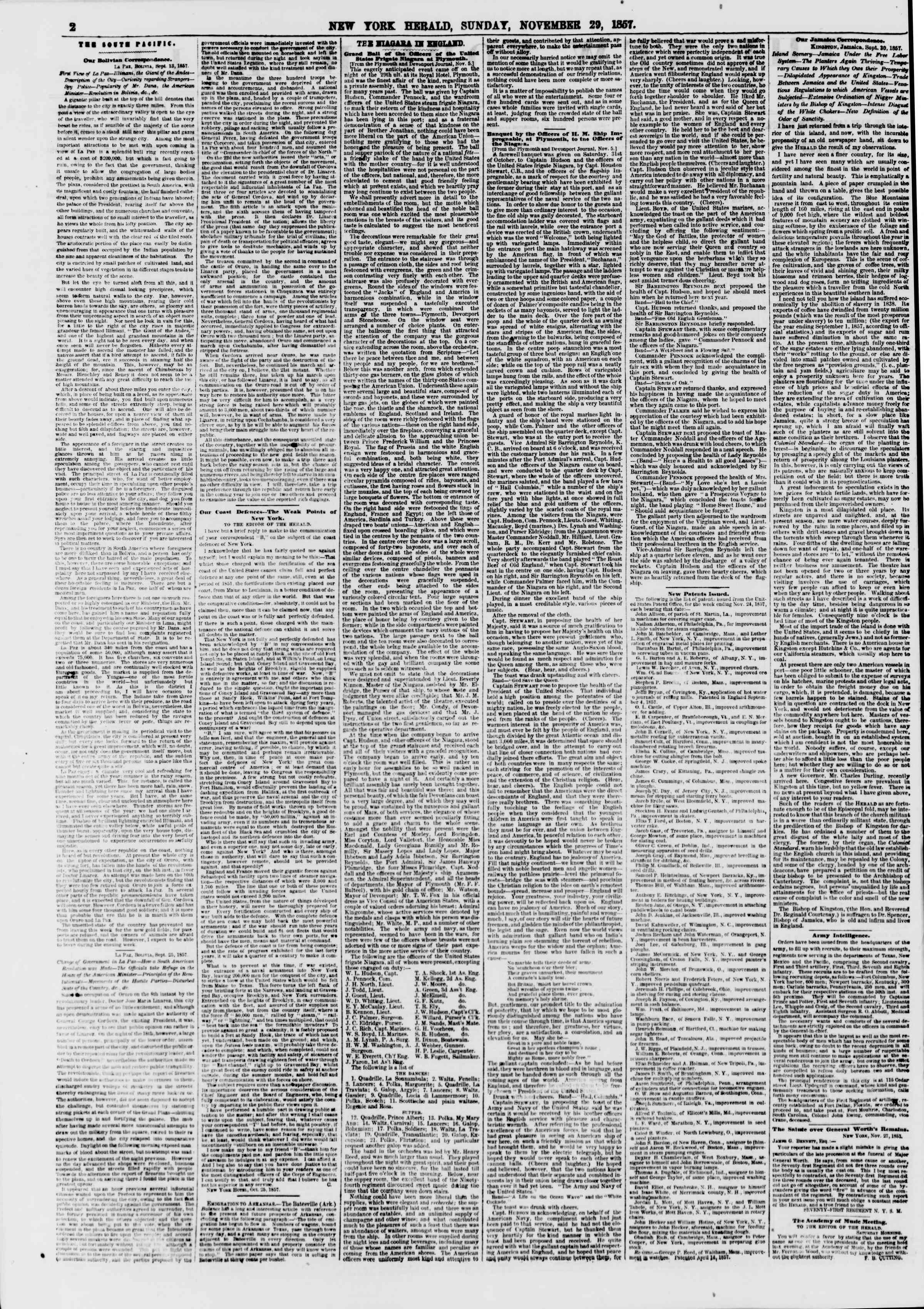 Newspaper of The New York Herald dated November 29, 1857 Page 2