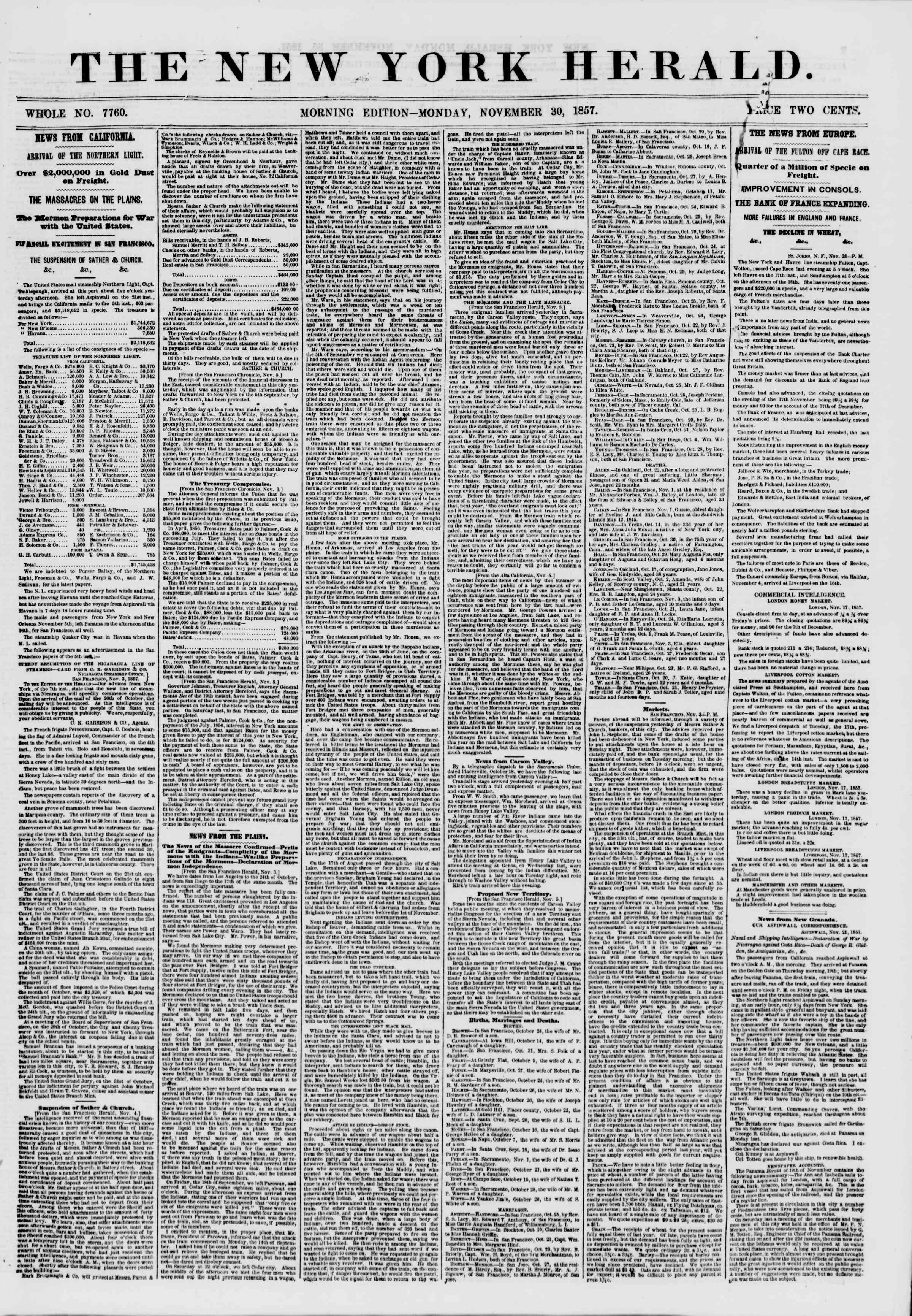Newspaper of The New York Herald dated November 30, 1857 Page 1