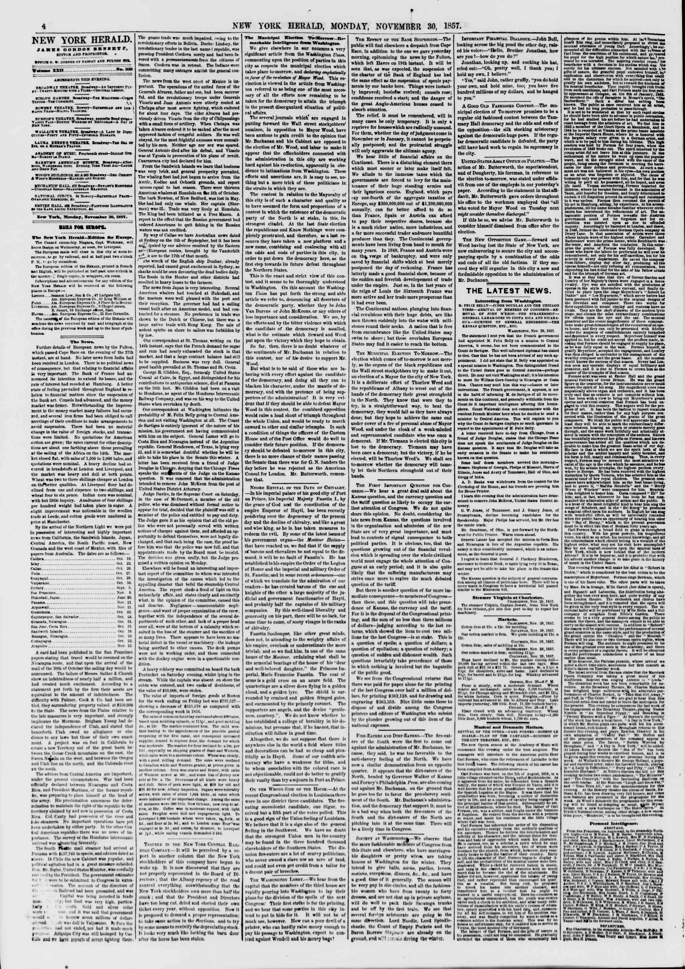 Newspaper of The New York Herald dated November 30, 1857 Page 4
