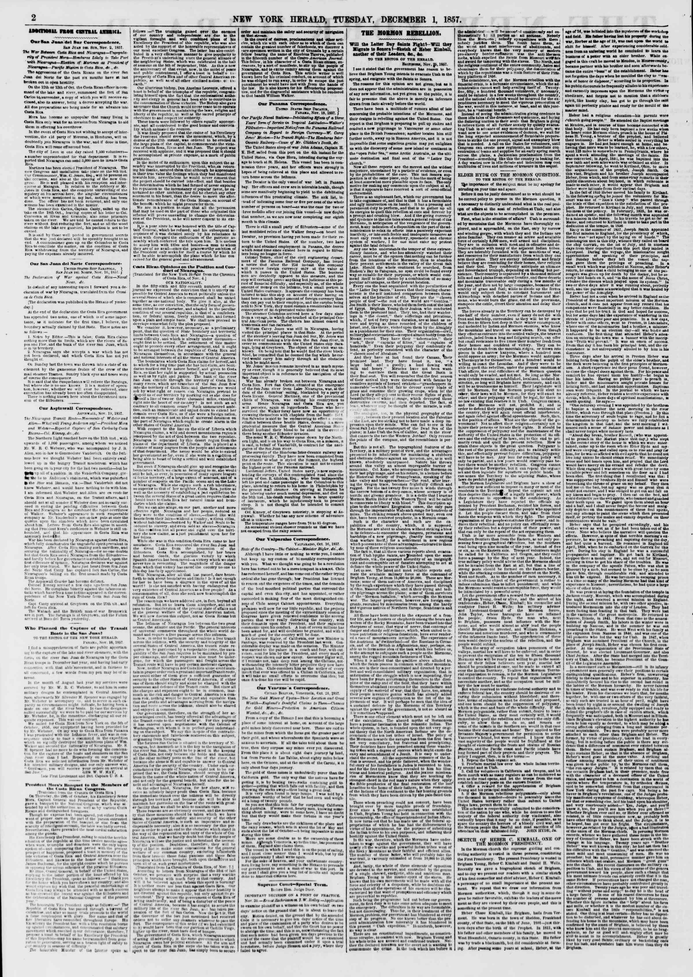 Newspaper of The New York Herald dated December 1, 1857 Page 2