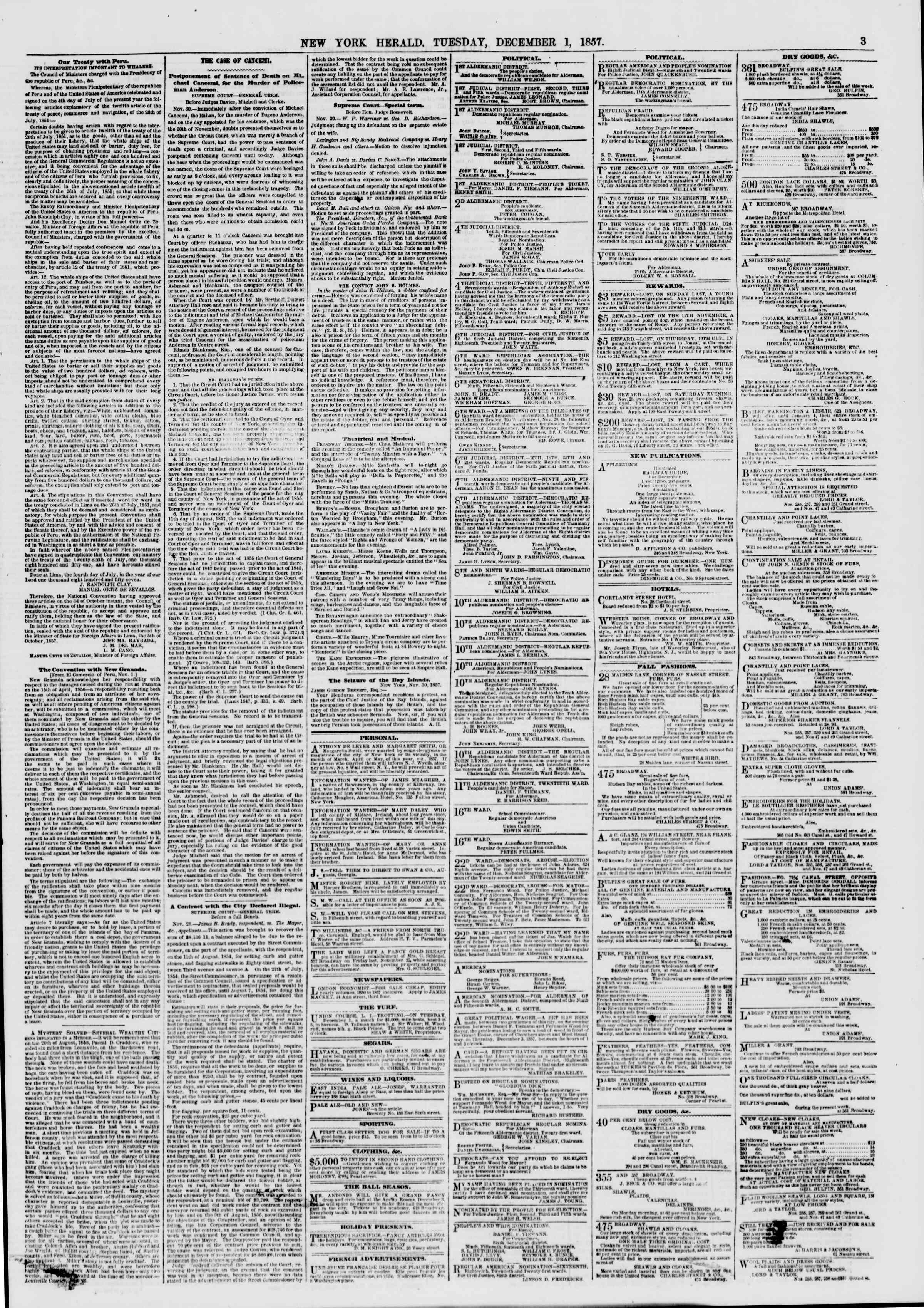 Newspaper of The New York Herald dated December 1, 1857 Page 3