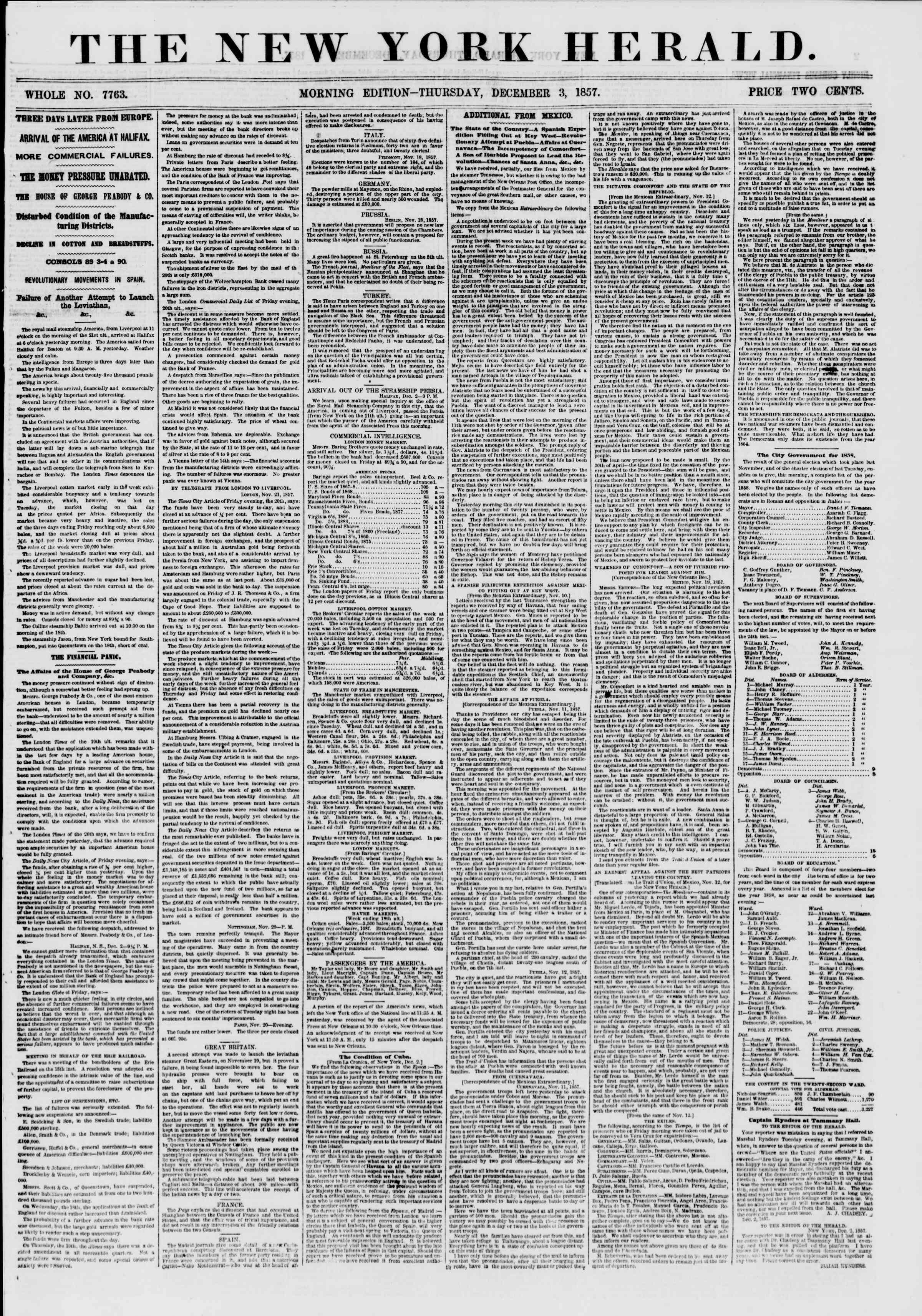 Newspaper of The New York Herald dated December 3, 1857 Page 1