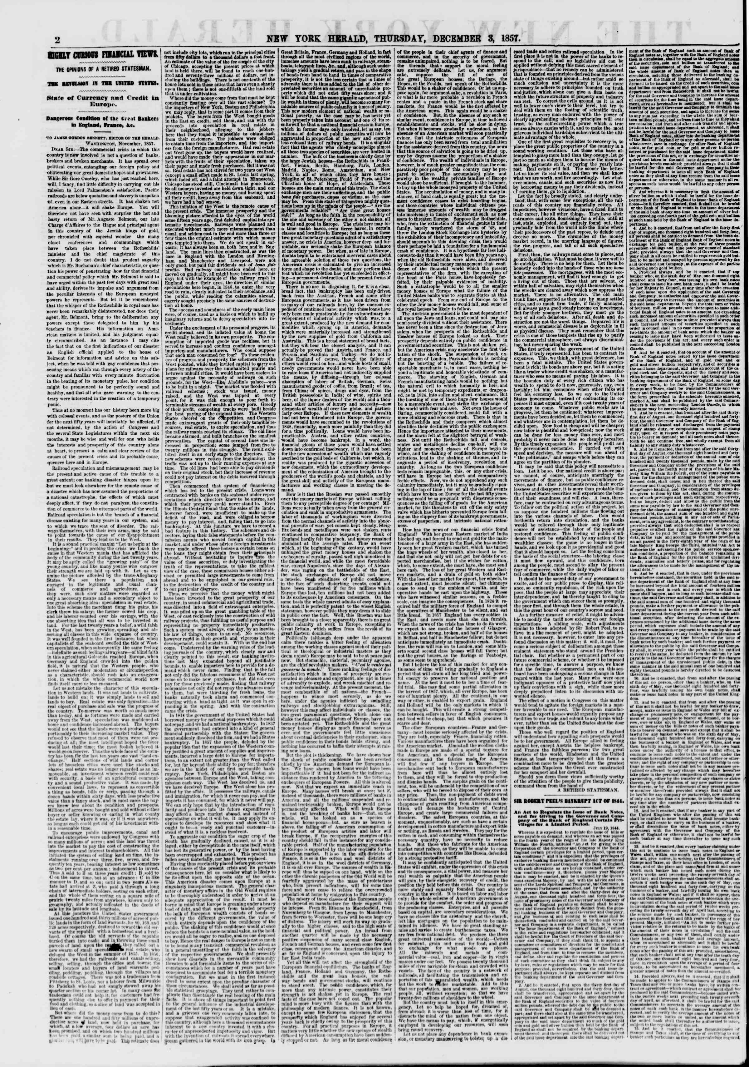 Newspaper of The New York Herald dated December 3, 1857 Page 2