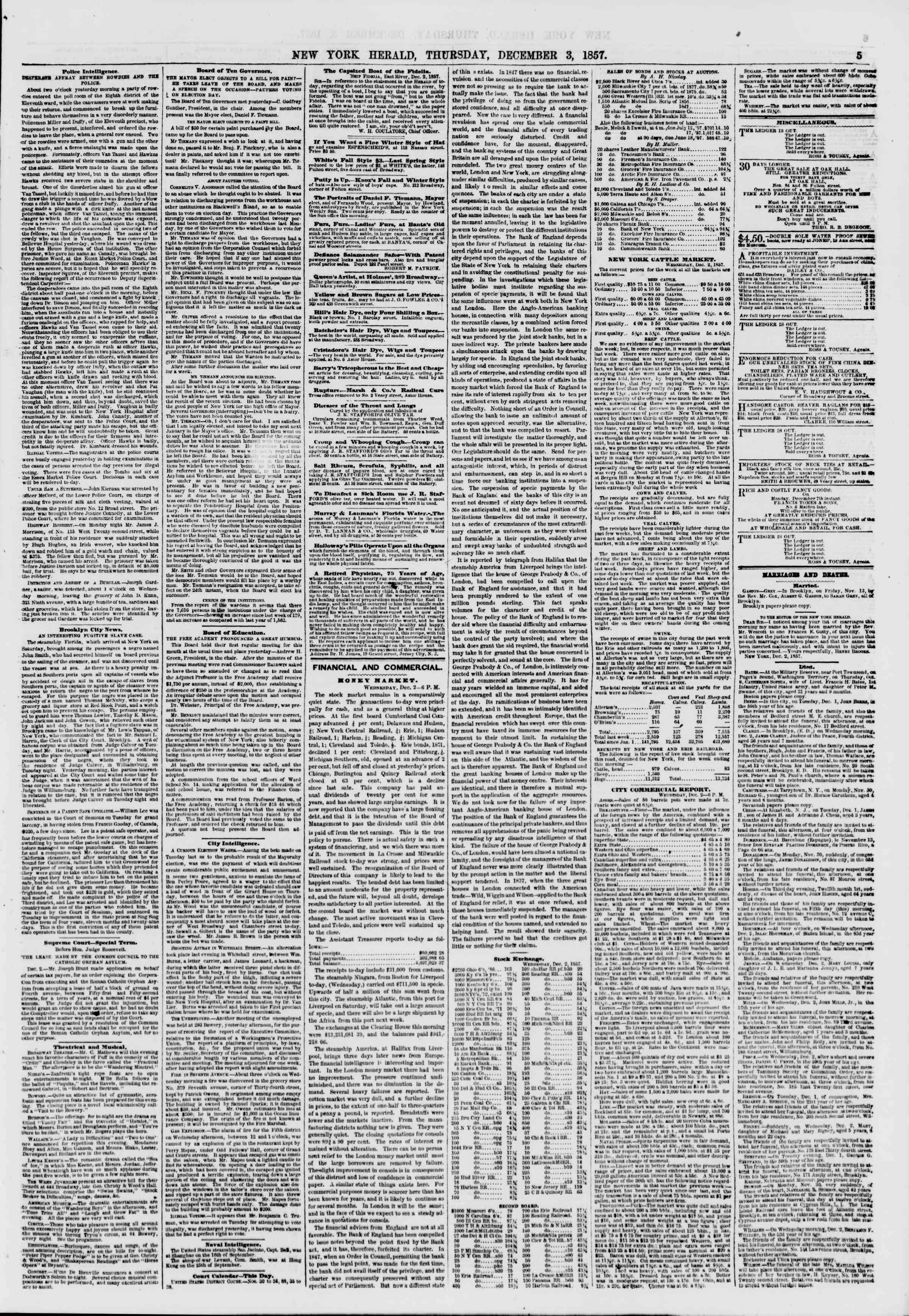 Newspaper of The New York Herald dated December 3, 1857 Page 5