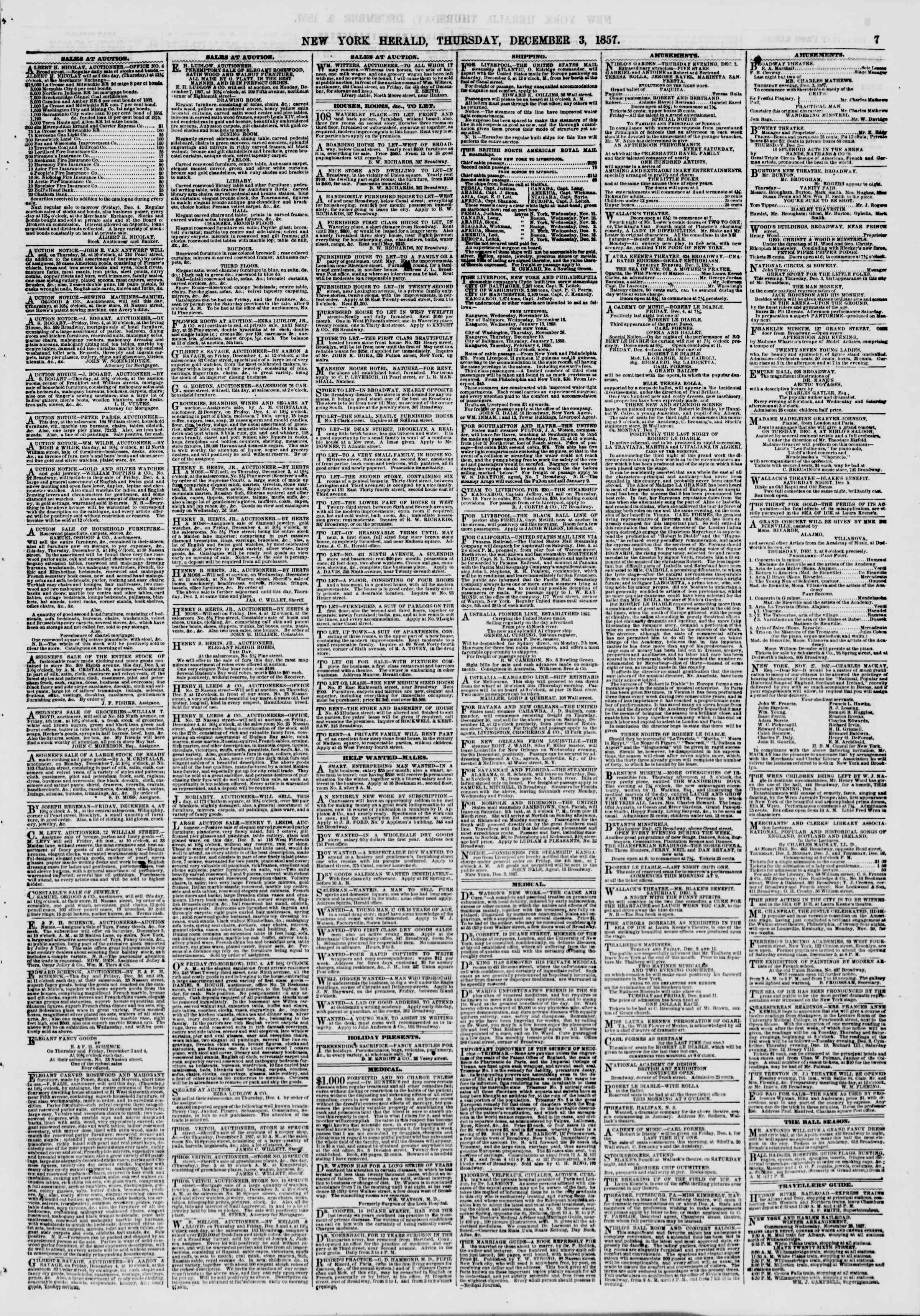 Newspaper of The New York Herald dated December 3, 1857 Page 7