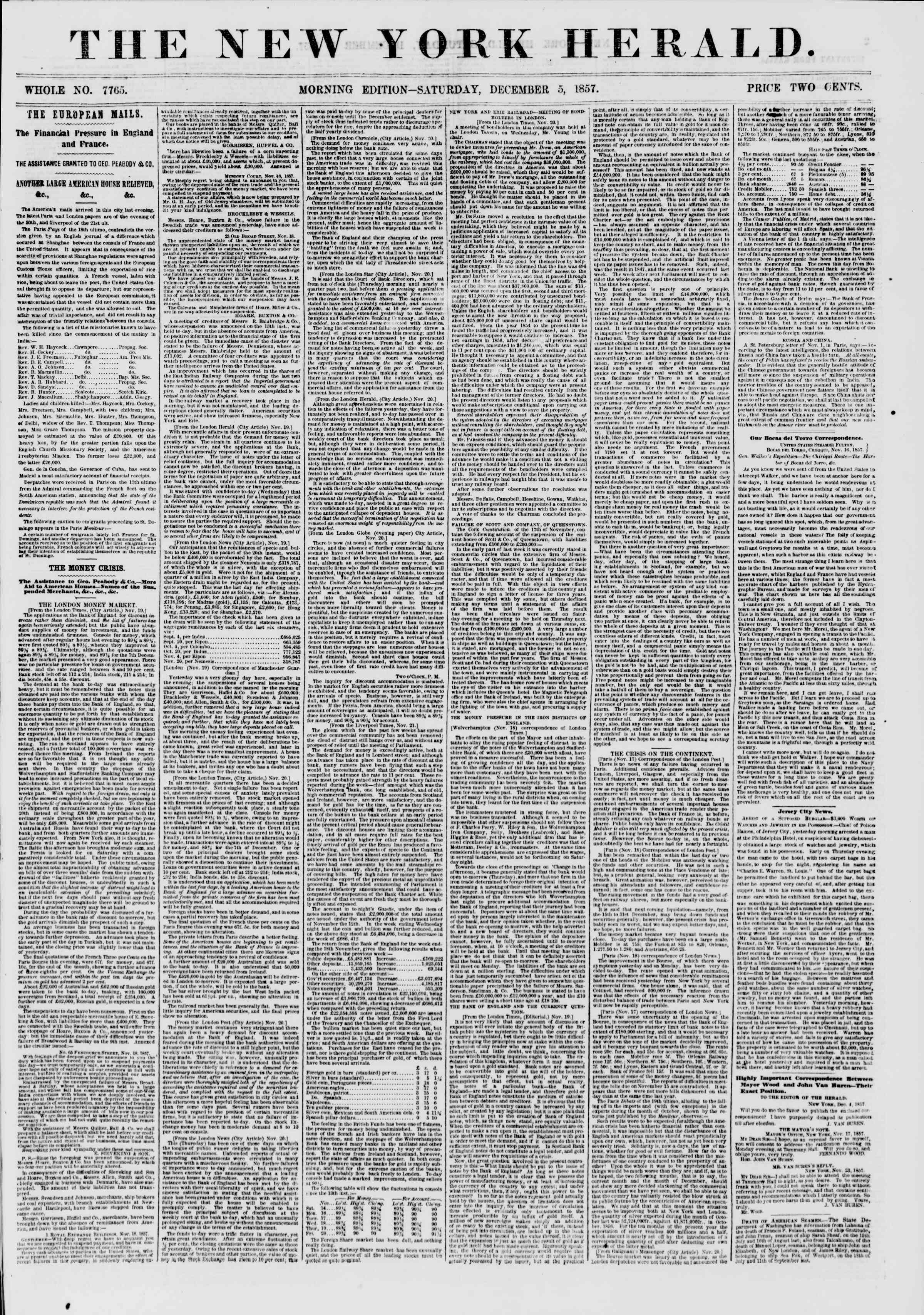 Newspaper of The New York Herald dated December 5, 1857 Page 1