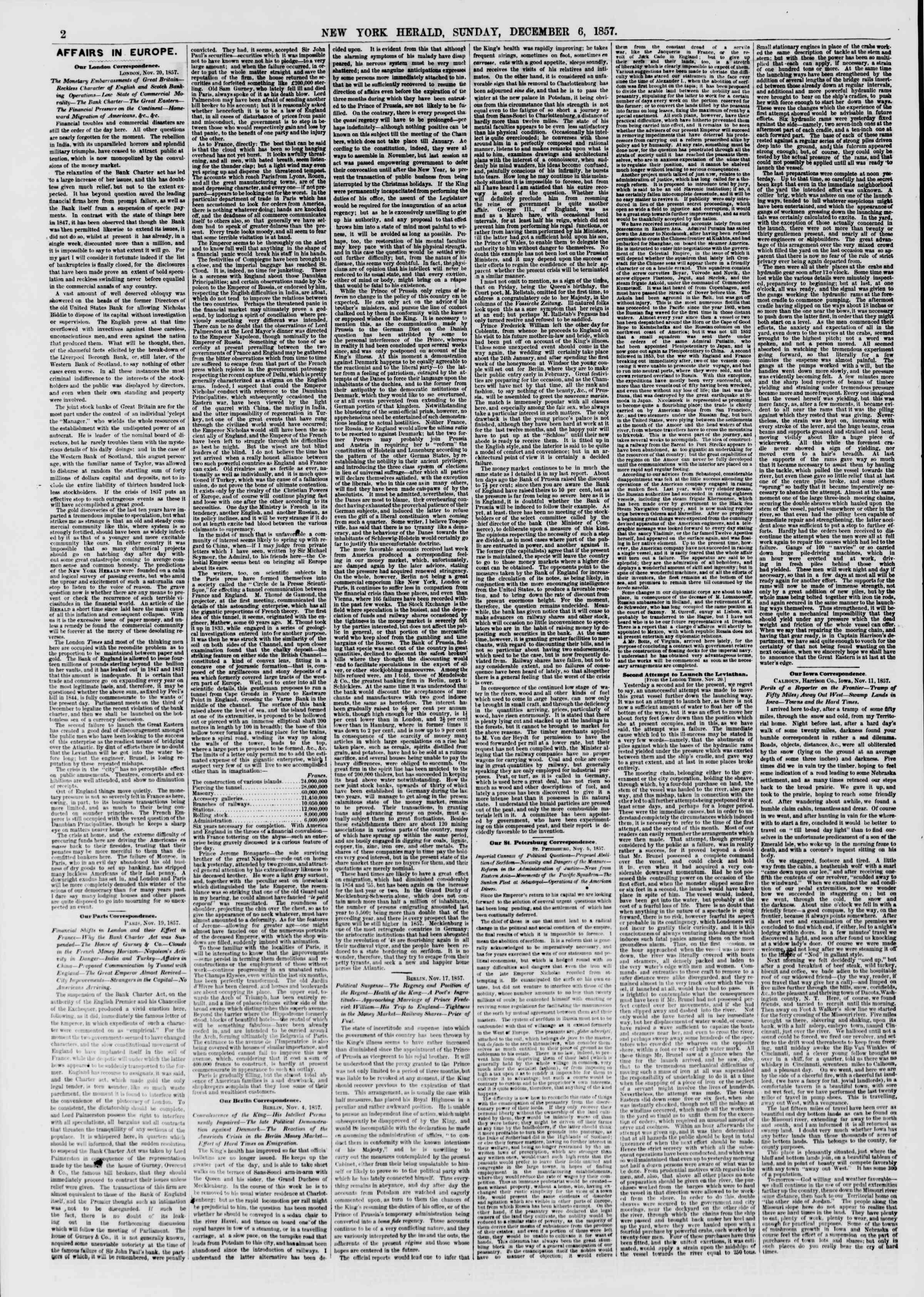 Newspaper of The New York Herald dated December 6, 1857 Page 2