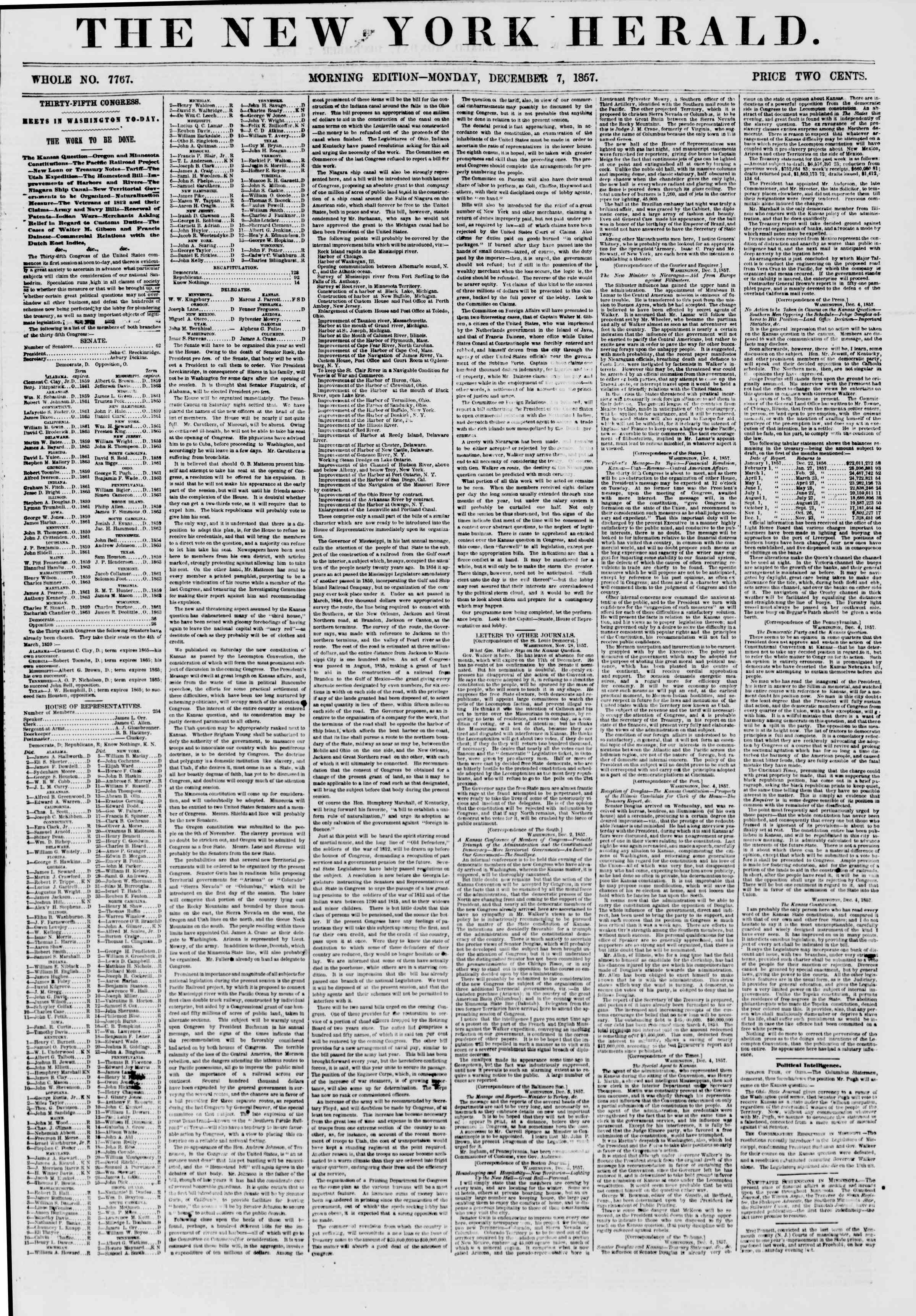 Newspaper of The New York Herald dated December 7, 1857 Page 1