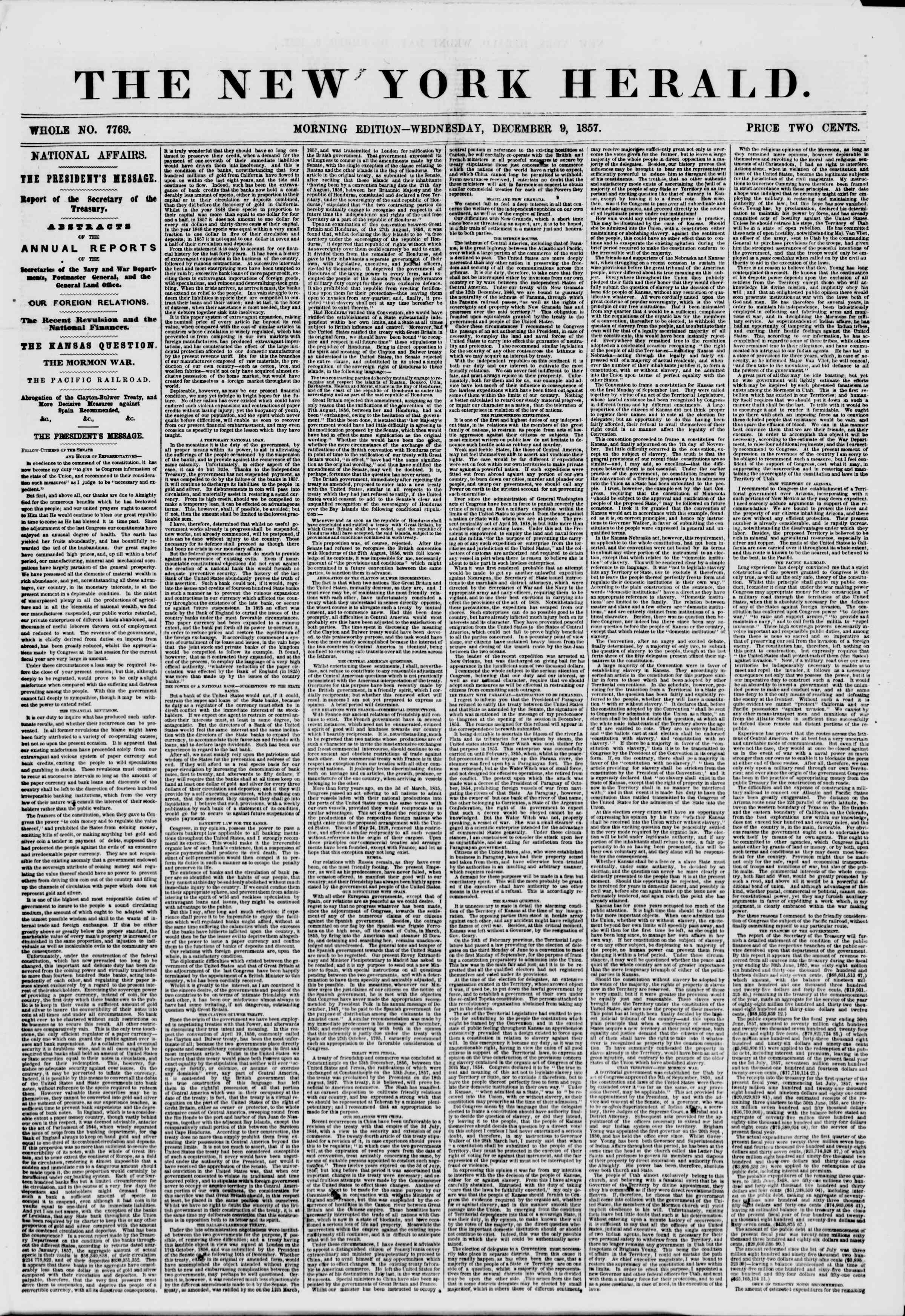 Newspaper of The New York Herald dated December 9, 1857 Page 1