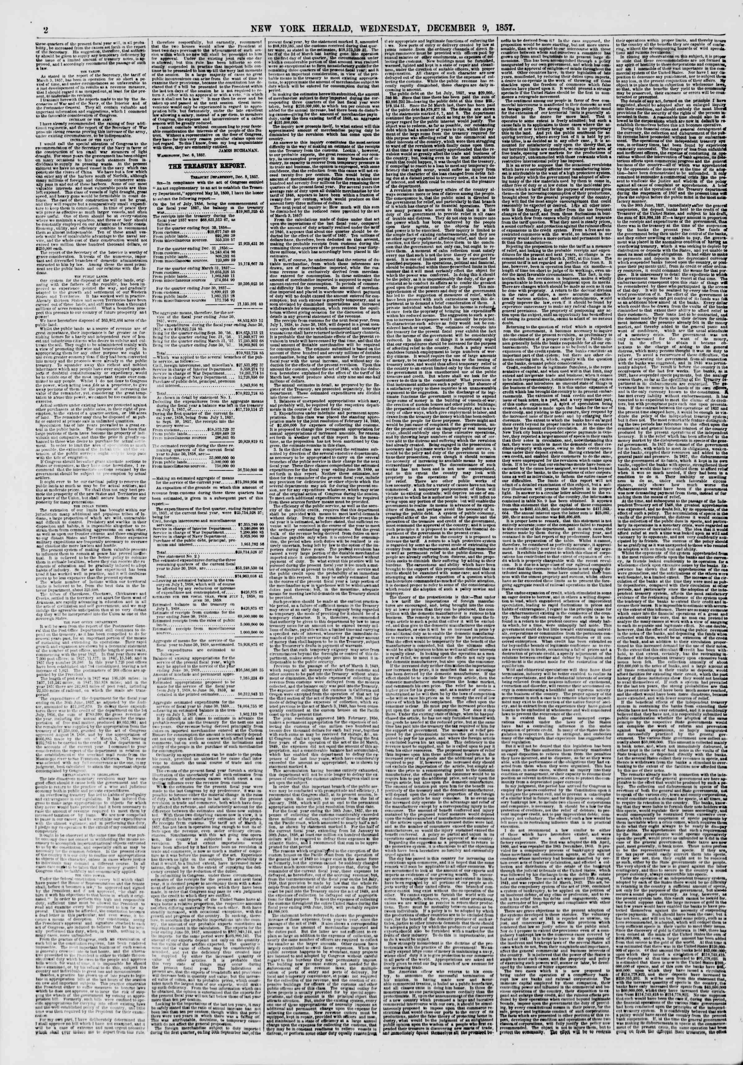 Newspaper of The New York Herald dated December 9, 1857 Page 2