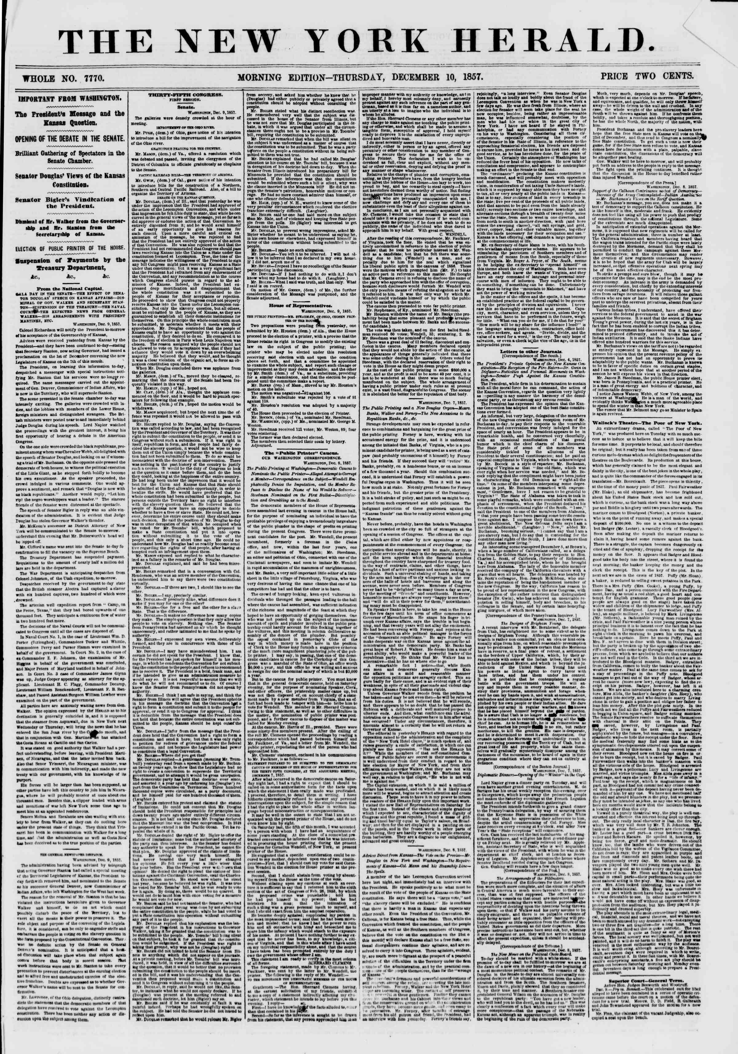 Newspaper of The New York Herald dated 10 Aralık 1857 Page 1