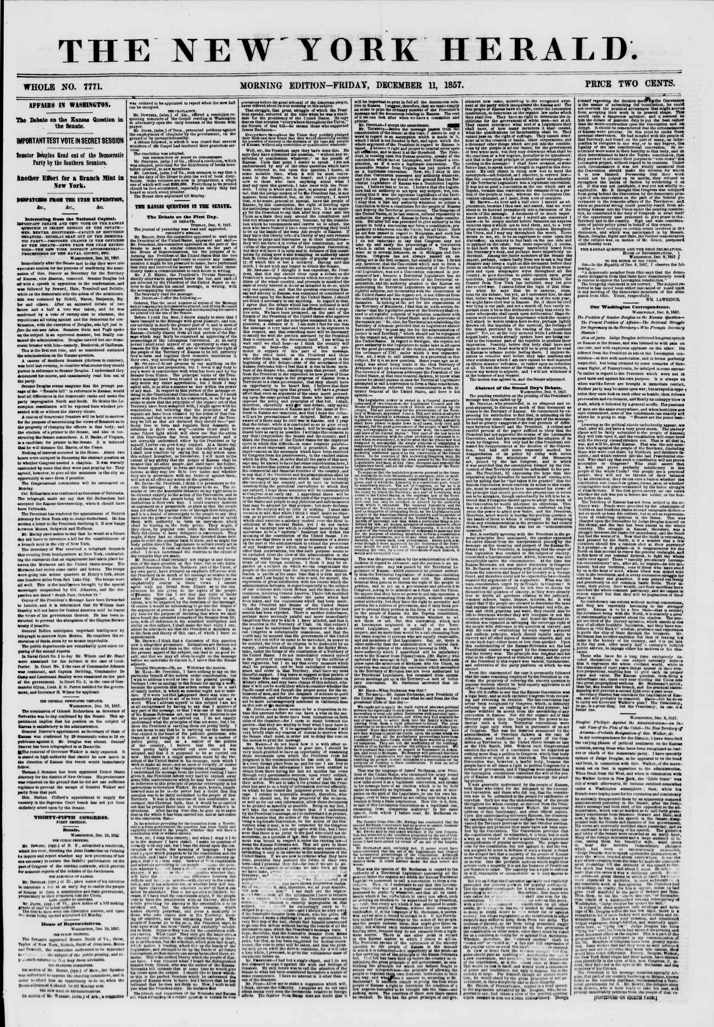 Newspaper of The New York Herald dated December 11, 1857 Page 1