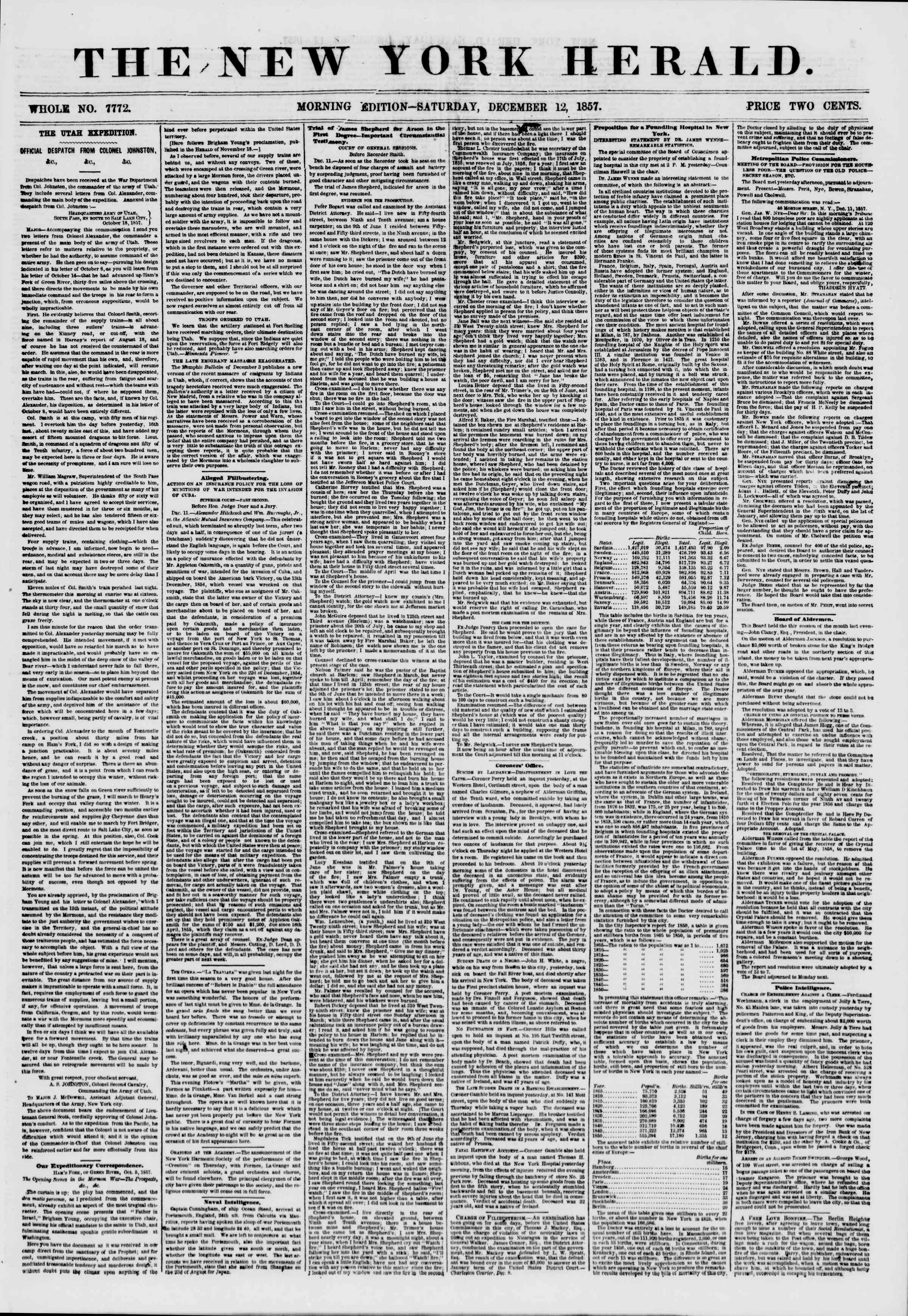Newspaper of The New York Herald dated December 12, 1857 Page 1