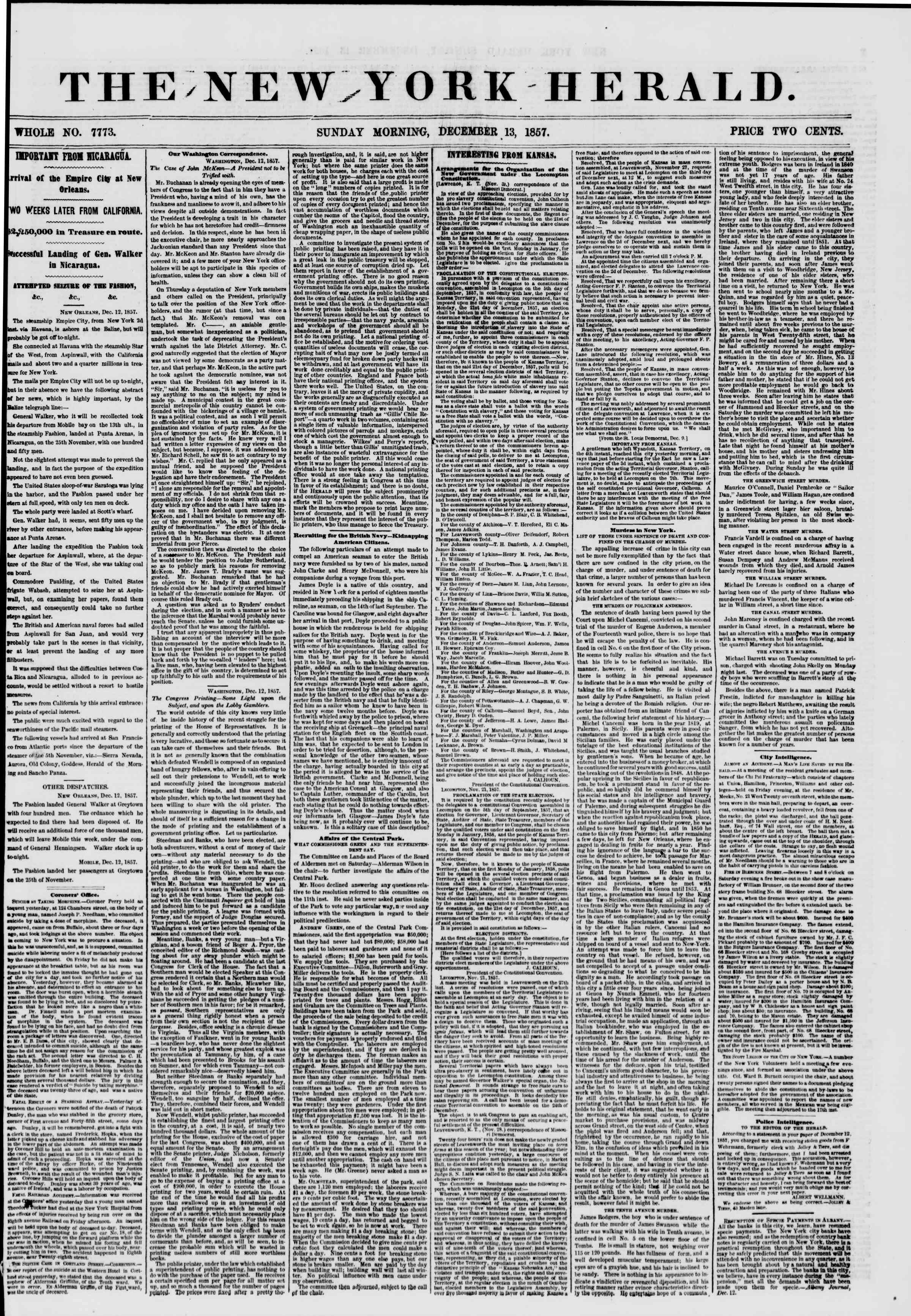 Newspaper of The New York Herald dated December 13, 1857 Page 1