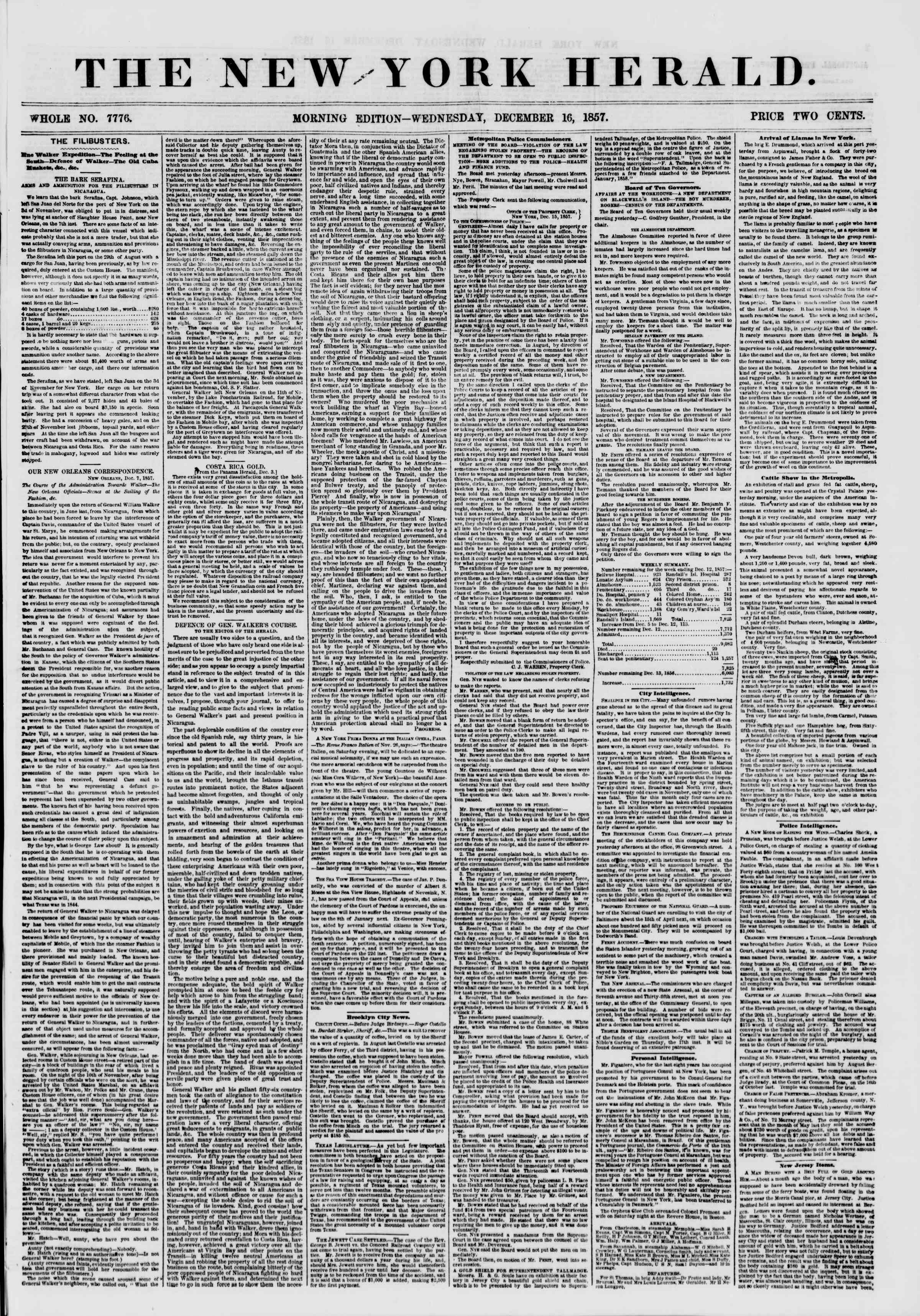 Newspaper of The New York Herald dated December 16, 1857 Page 1