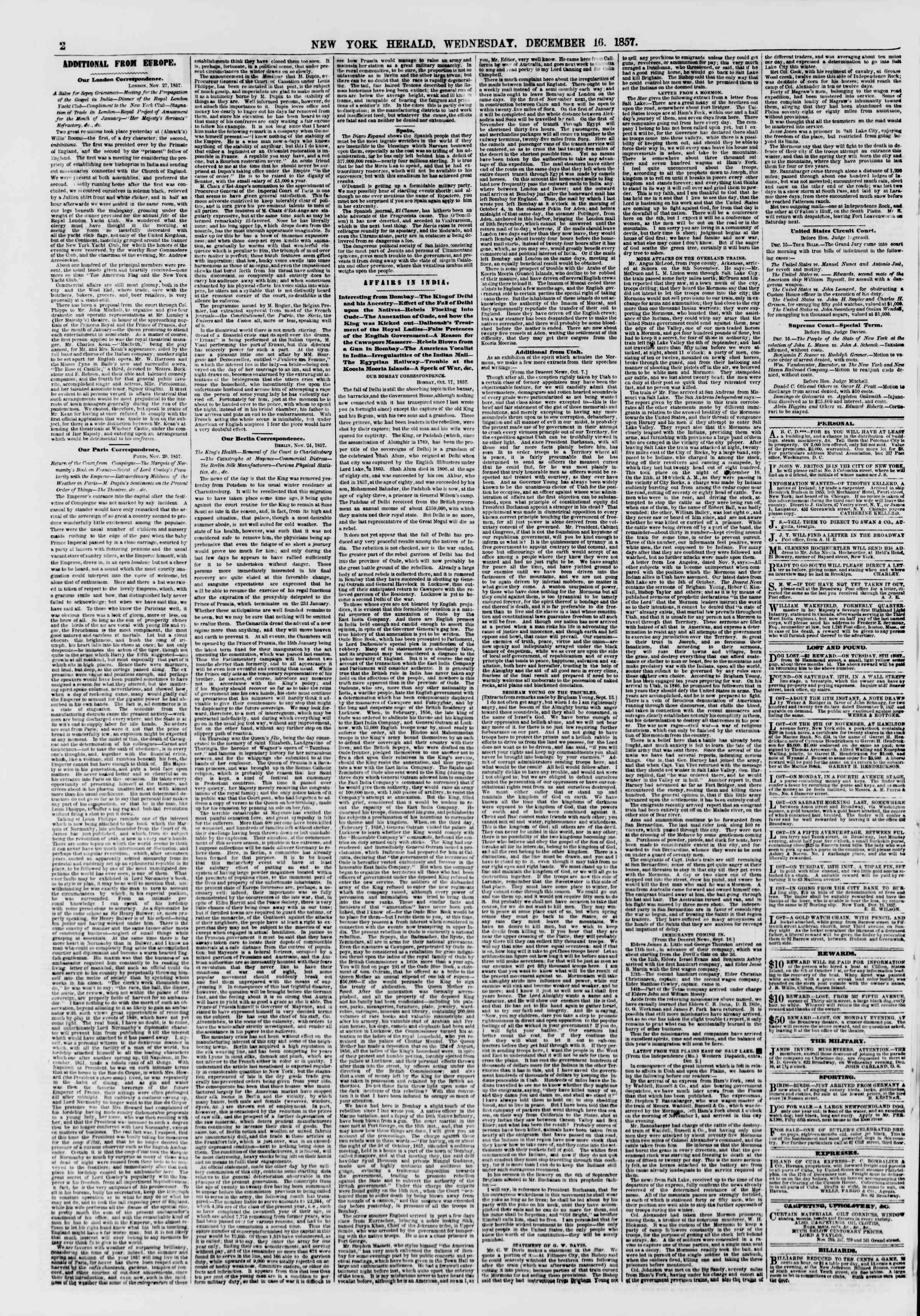 Newspaper of The New York Herald dated December 16, 1857 Page 2