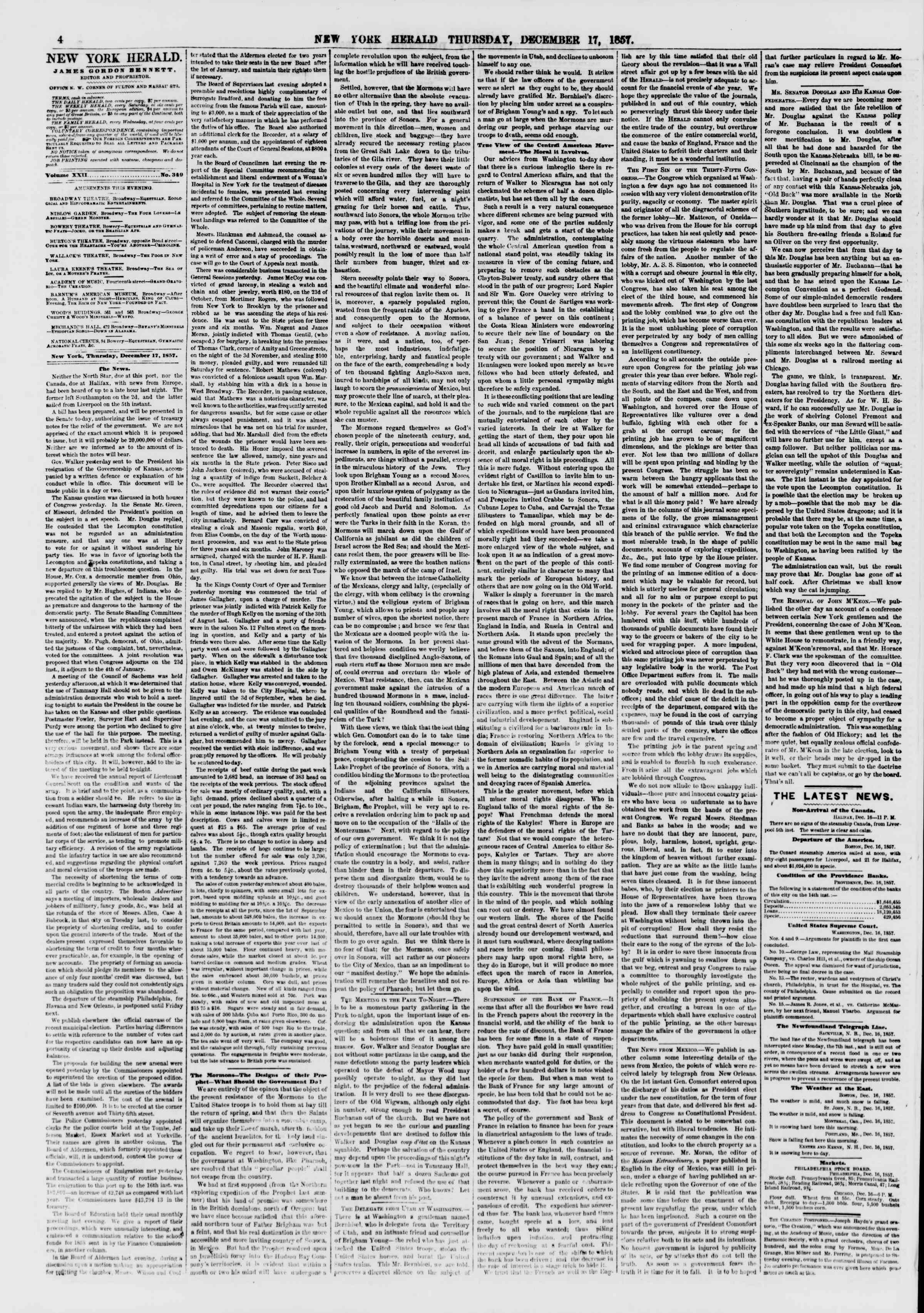Newspaper of The New York Herald dated December 17, 1857 Page 4