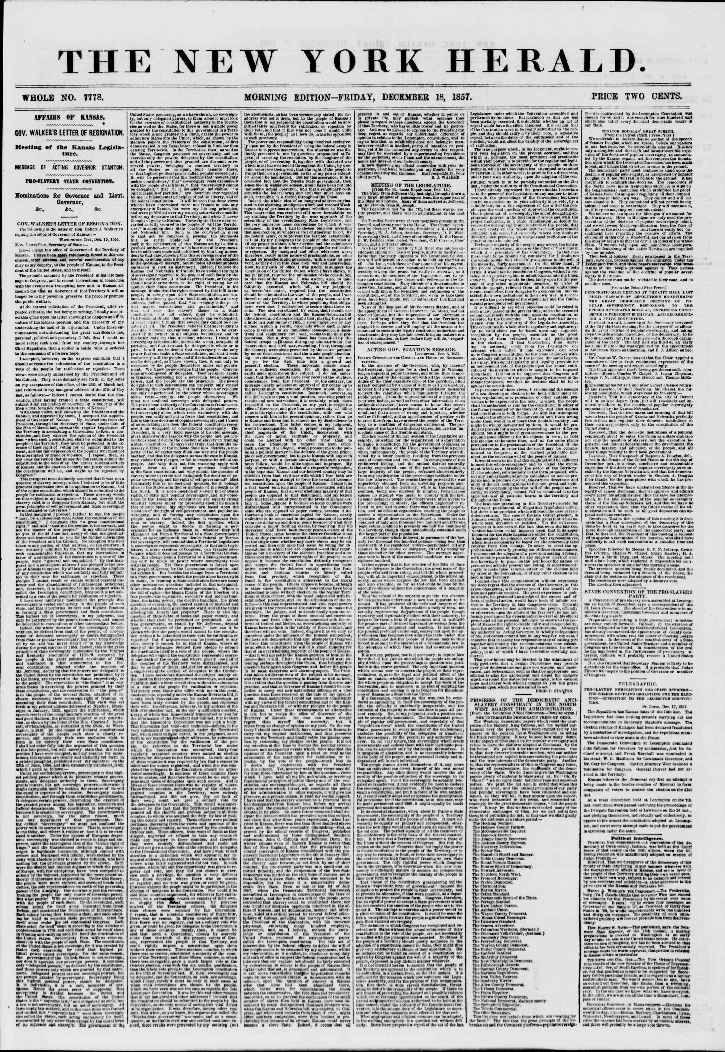 Newspaper of The New York Herald dated December 18, 1857 Page 1