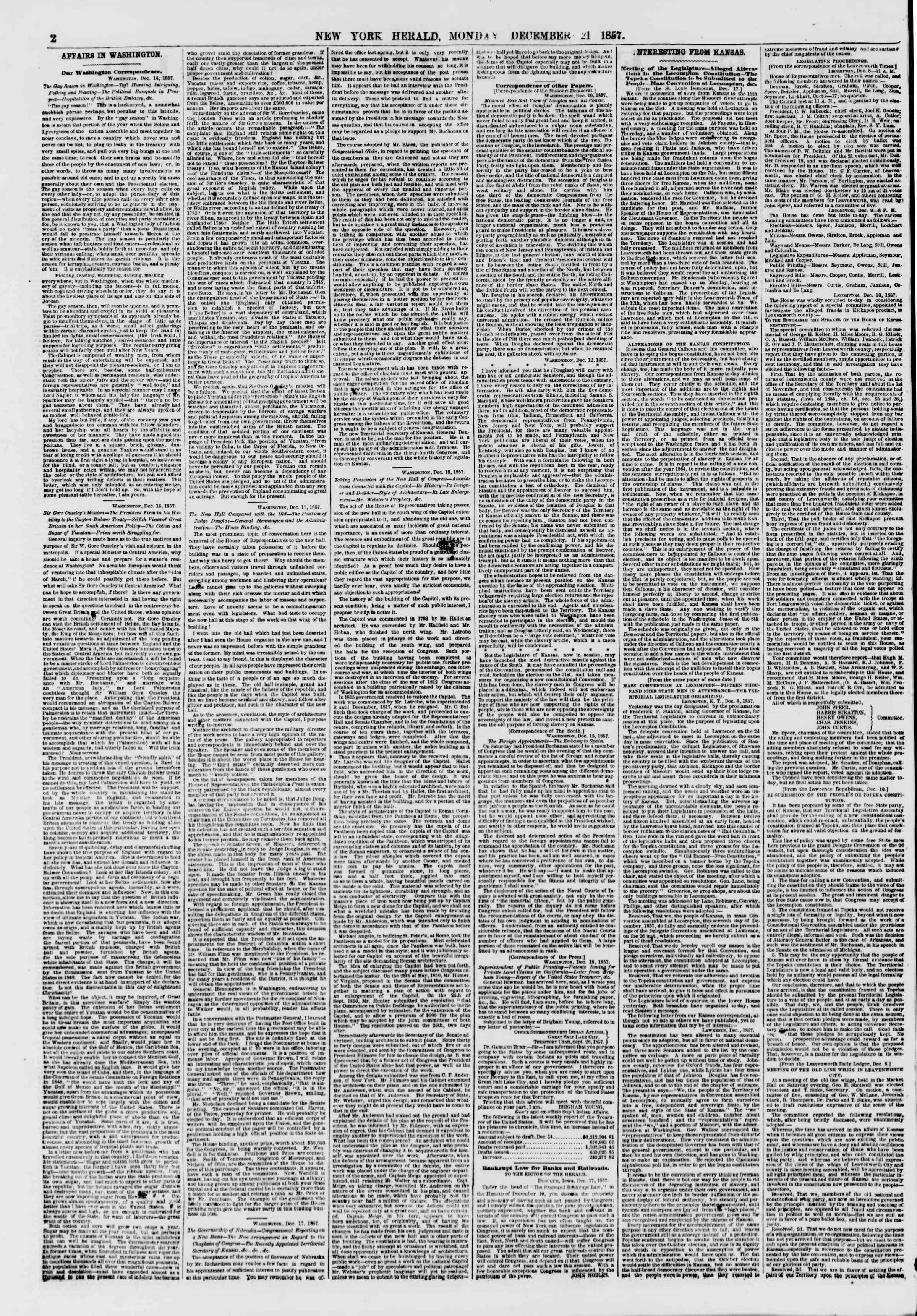 Newspaper of The New York Herald dated December 21, 1857 Page 2