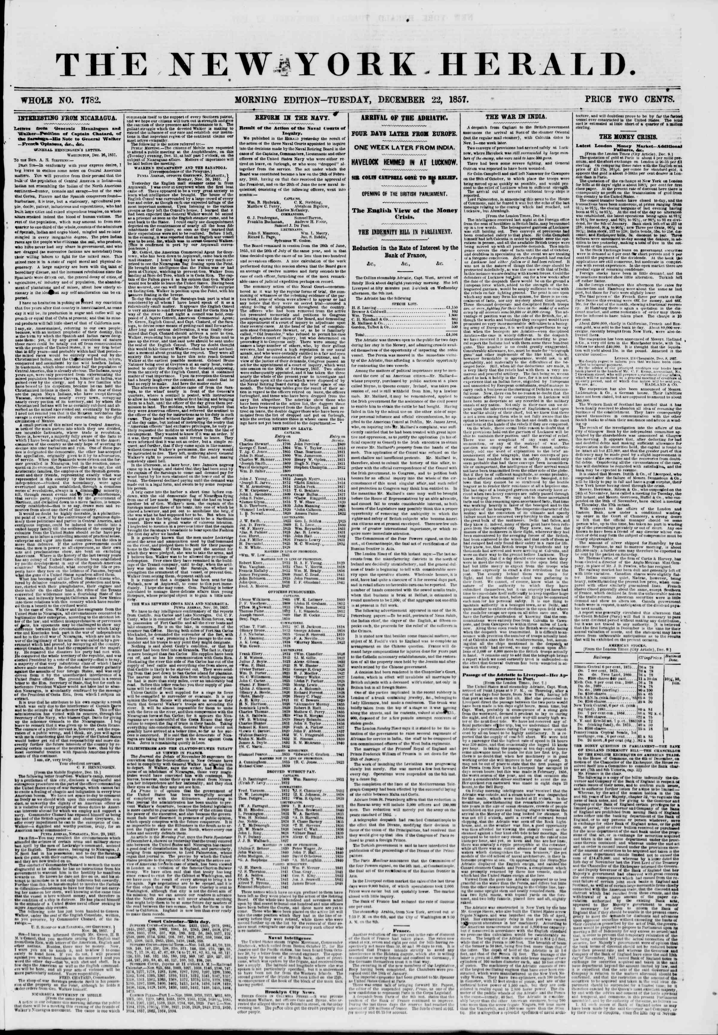 Newspaper of The New York Herald dated December 22, 1857 Page 1