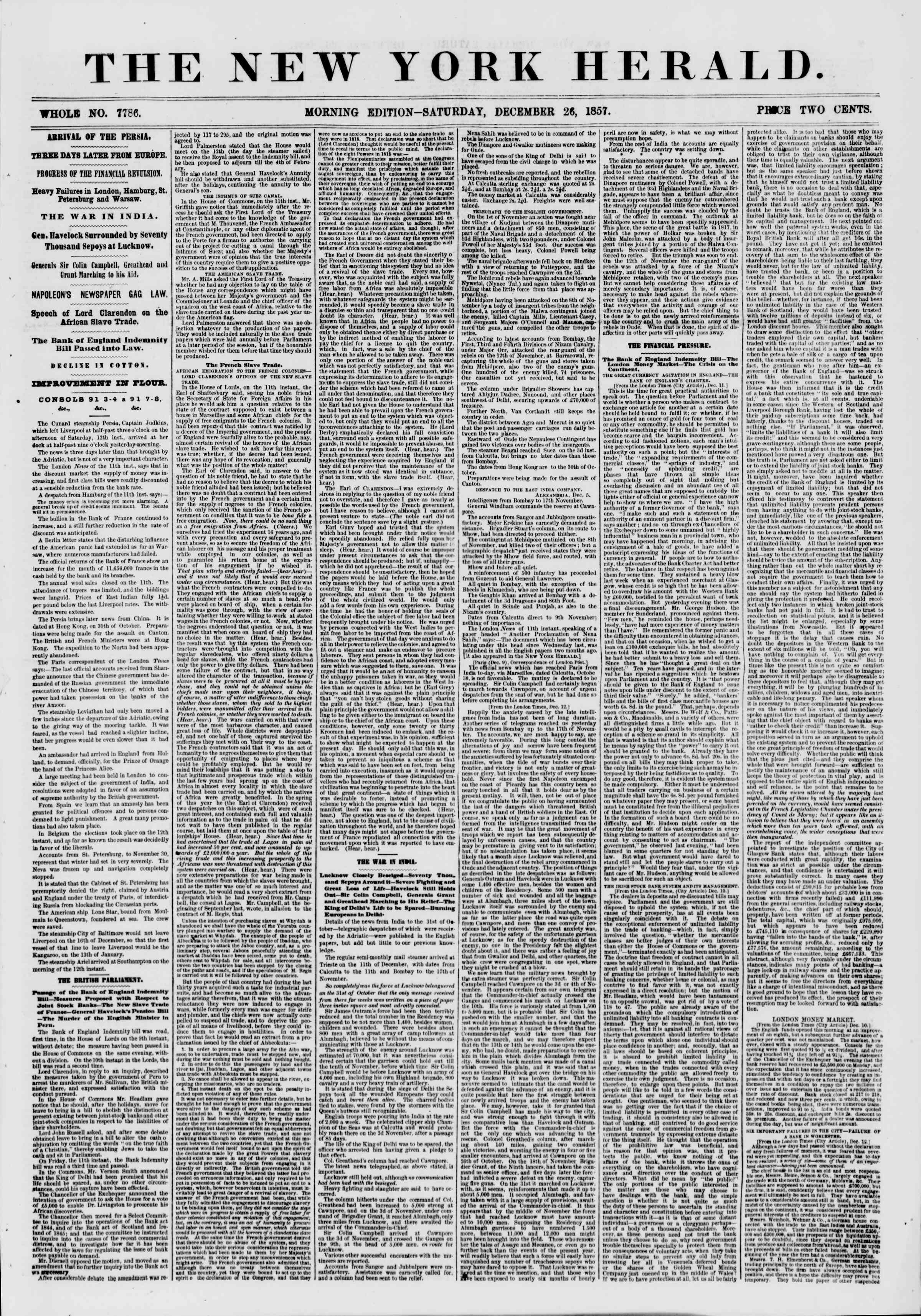 Newspaper of The New York Herald dated December 26, 1857 Page 1