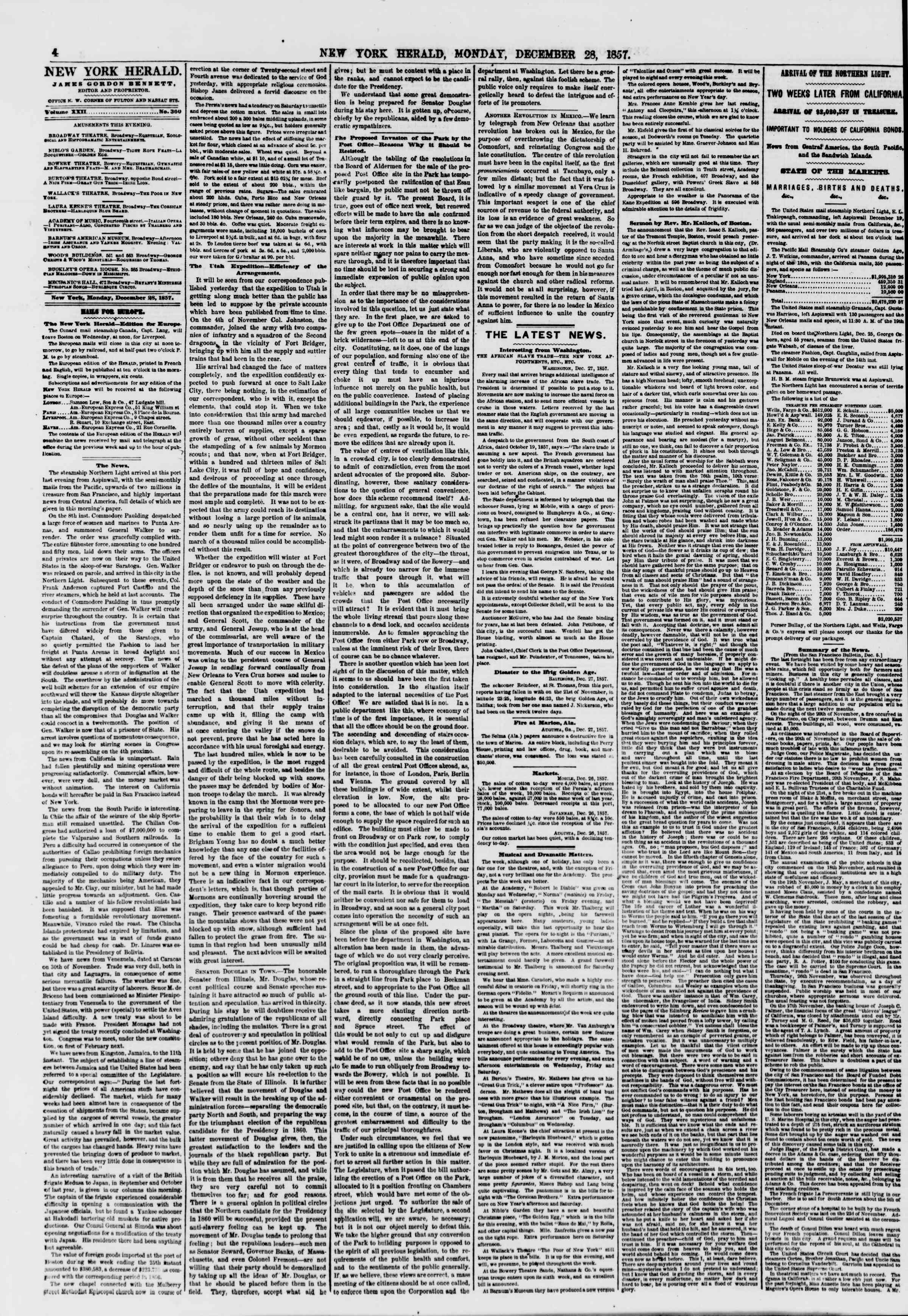 Newspaper of The New York Herald dated December 28, 1857 Page 4