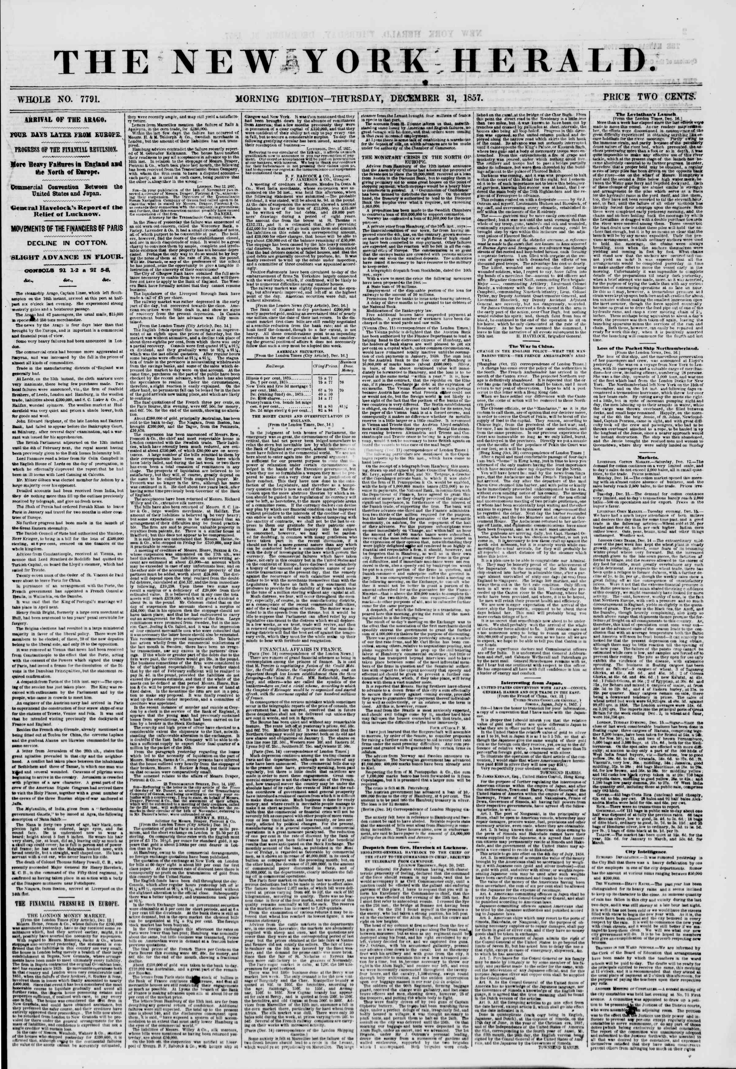 Newspaper of The New York Herald dated December 31, 1857 Page 1